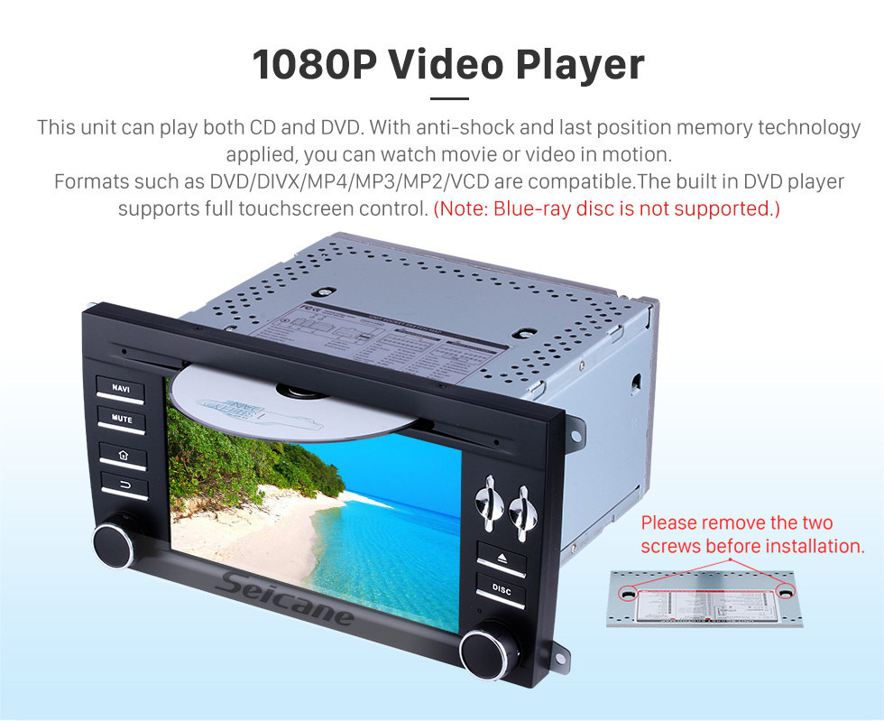 Seicane Pantalla táctil HD de 7 pulgadas para 2003 2004 2005-2011 Porsche Cayenne Radio Android 10.0 Sistema de navegación GPS con Bluetooth Carplay compatible con 1080P Video TPMS