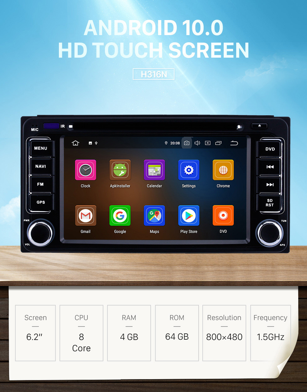 Seicane 6.2 inch Android 10.0 GPS Navigation Radio for 1996-2018 Toyota Corolla Auris Fortuner Estima Innova with HD Touchscreen Carplay Bluetooth WIFI support OBD2 1080P