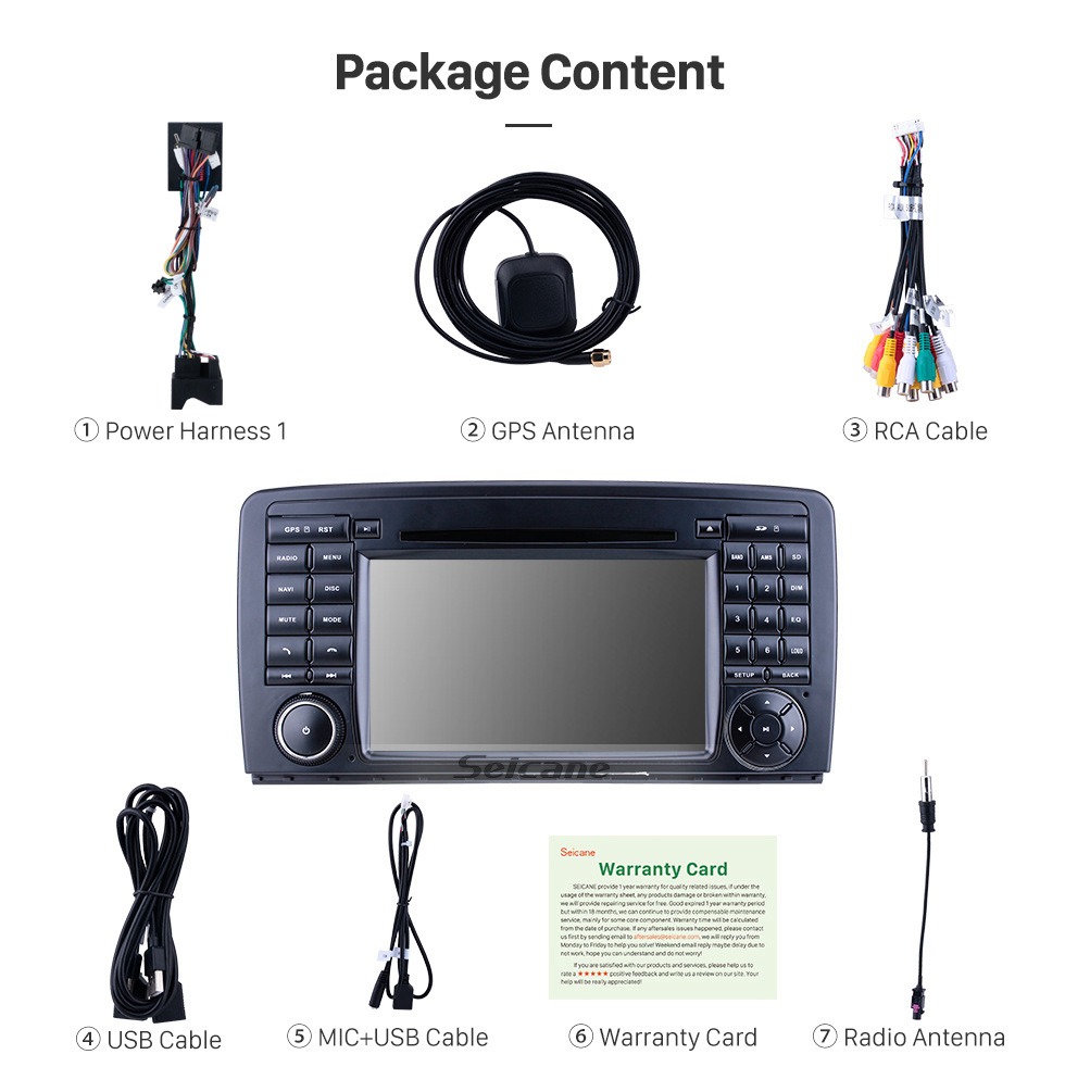 Seicane 7 inch Android 10.0 for 2006 2007 2008-2013 Mercedes Benz R Class W251 R280 R300 R320 R350 R500 R63 Radio GPS Navigation with HD Touchscreen Carplay Bluetooth support DVR