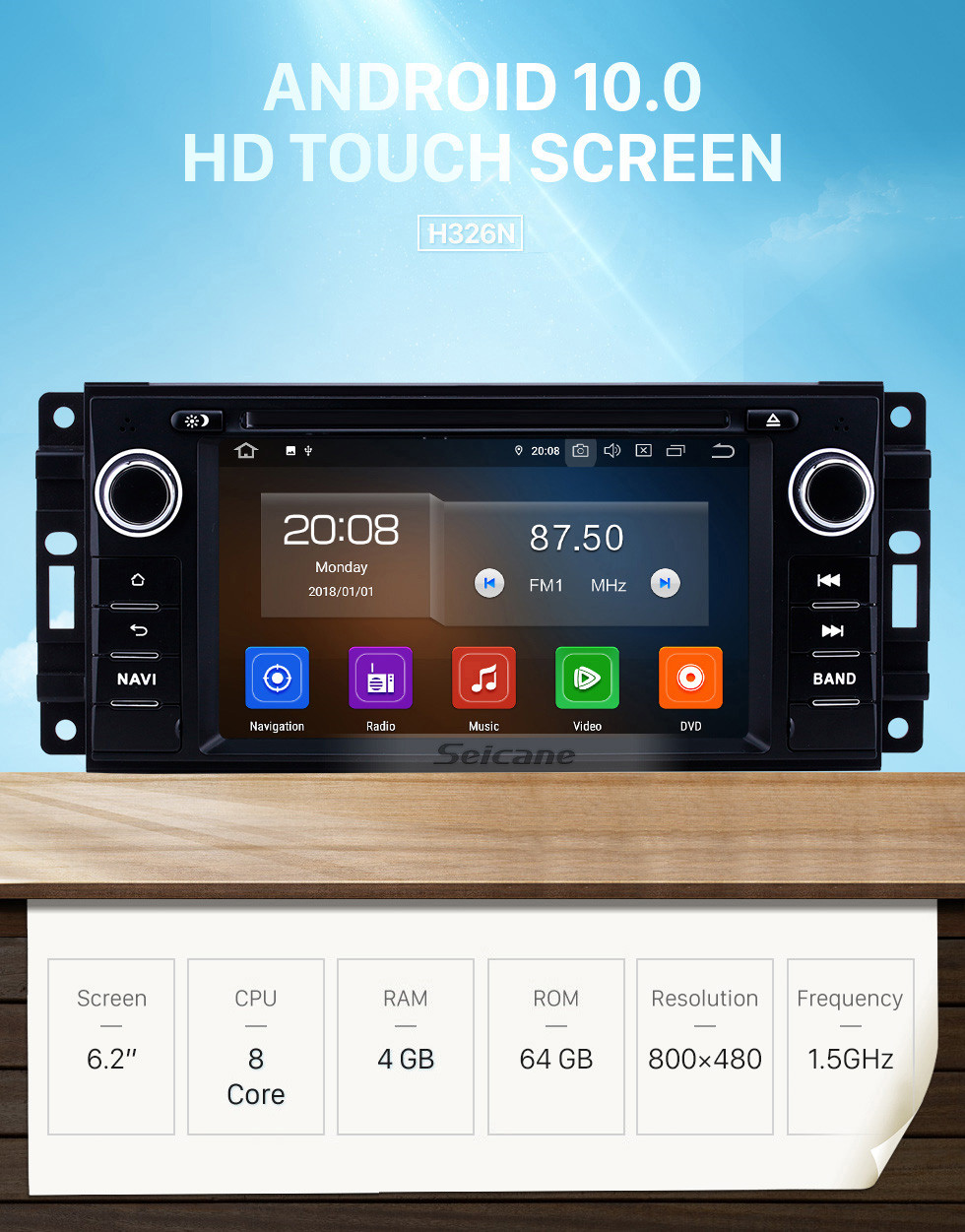 Seicane 6.2 inch 2005-2011 Jeep Grand Cherokee/Wrangler/Compass/Commander Android 10.0 GPS Navigation Radio Bluetooth Touchscreen Carplay support 1080P Video