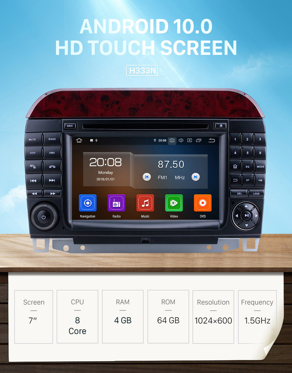 Seicane 7 inch Android 10.0 HD Touchscreen Radio for 1998-2005 Mercedes Benz S Class W220/S280/S320/S320 CDI/S400 CDI/S350/S430/S500/S600/S55 AMG/S63 AMG/S65 AMG with Bluetooth GPS Navigation Carplay support 1080P