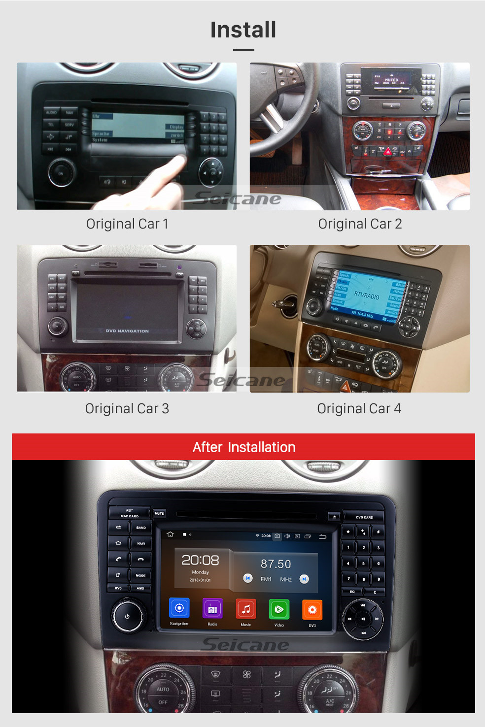 Seicane 7 inch Android 10.0 GPS Navigation Radio for 2005-2012 Mercedes Benz GL CLASS X164 GL320 with HD Touchscreen Carplay Bluetooth support TPMS OBD2