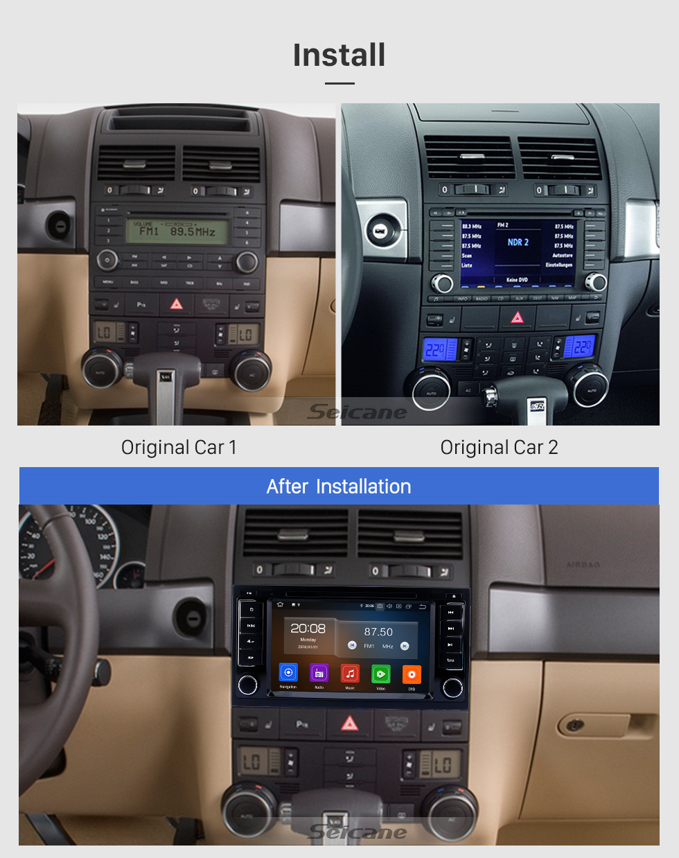 Seicane Android 10.0 CD Radio In Dash Car GPS Stereo for 2003-2014 VW Volkswagen T5 Multivan with 3G WiFi DVD Player Bluetooth Mirror Link OBD2 Steering Wheel Control AUX