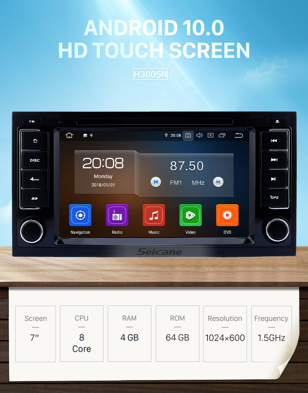 Seicane 7 inch Android 10.0 GPS Navigation Radio for VW Volkswagen 2004-2011 Touareg 2009 T5 Multivan/Transporter with Touchscreen Carplay Bluetooth support 1080P DVR