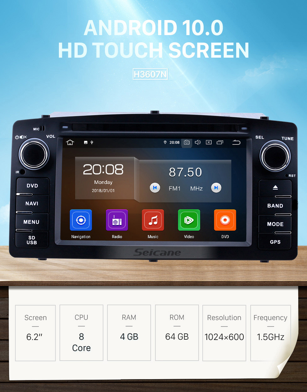 Seicane 2003-2012 Toyota Corolla E120 BYD F3 6.2 pouces Android 10.0 Radio de navigation GPS avec écran tactile HD Carplay Bluetooth support OBD2