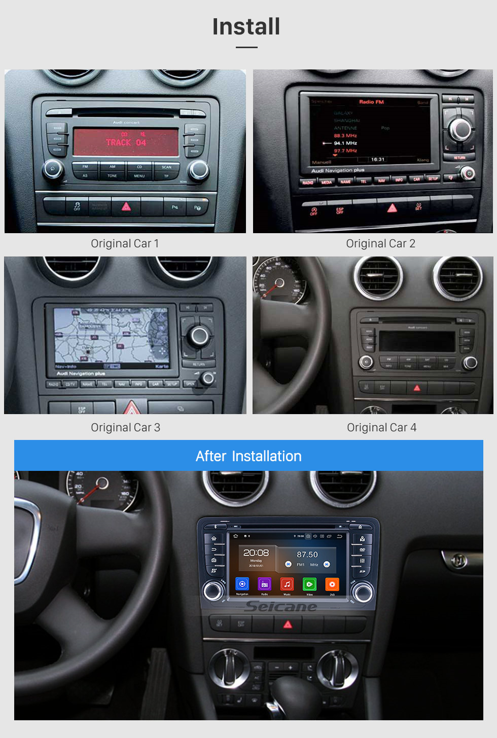 Seicane HD Touchscreen 7 inch Android 10.0 for 2011 Audi A3 Radio with GPS Navigation System Carplay Bluetooth support Digital TV
