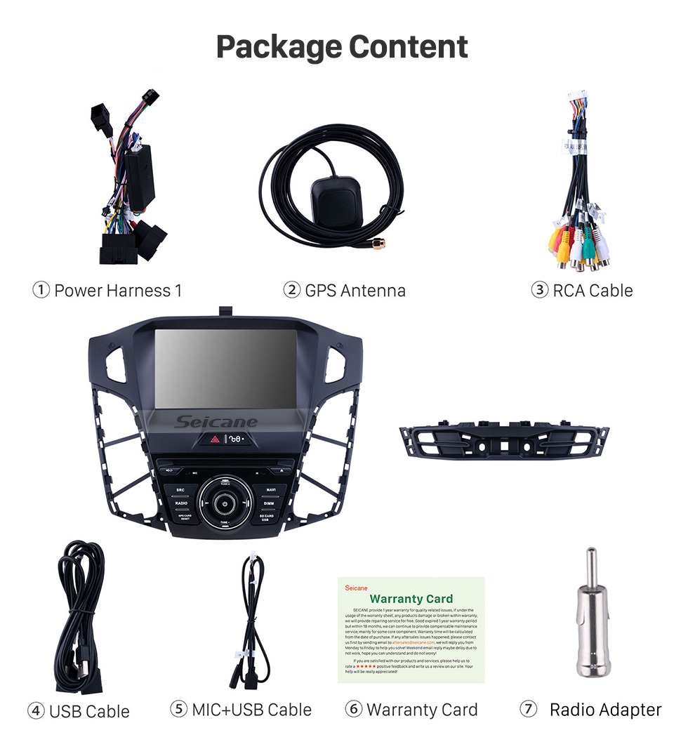 Seicane for 2011 2012 2013 Ford focus 1024*600 Touchscreen Android 10.0 Radio DVD GPS Navigation System with Mirror link Bluetooth OBD2 DVR Rearview Camera 1080P 3G 4G WIFI Steering Wheel Control Rearview Camera
