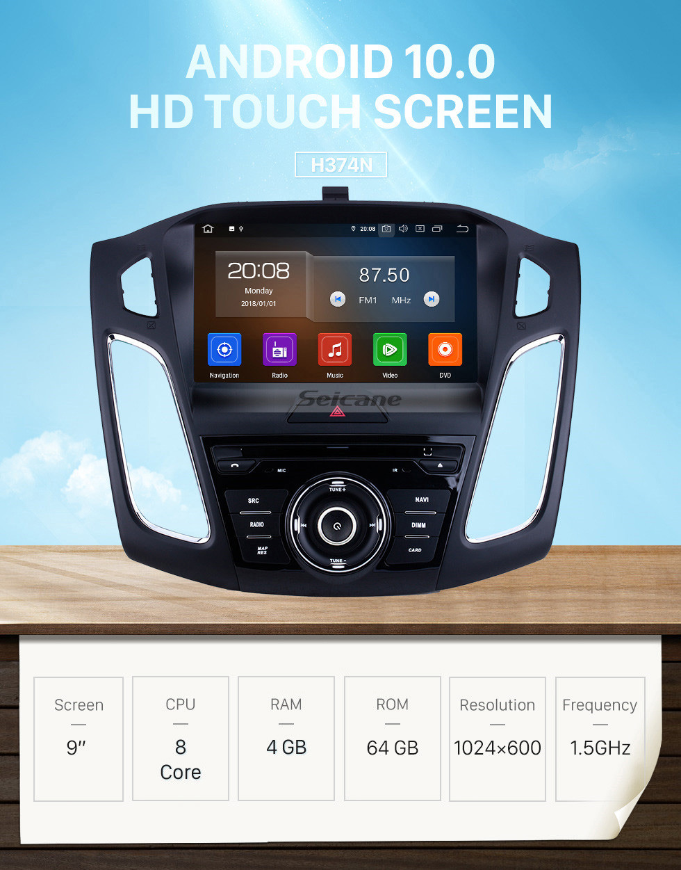 Seicane OEM 9 inch Android 10.0 for 2015 Ford Focus Radio Bluetooth HD Touchscreen GPS Navigation System Carplay support DVR 1080P Video