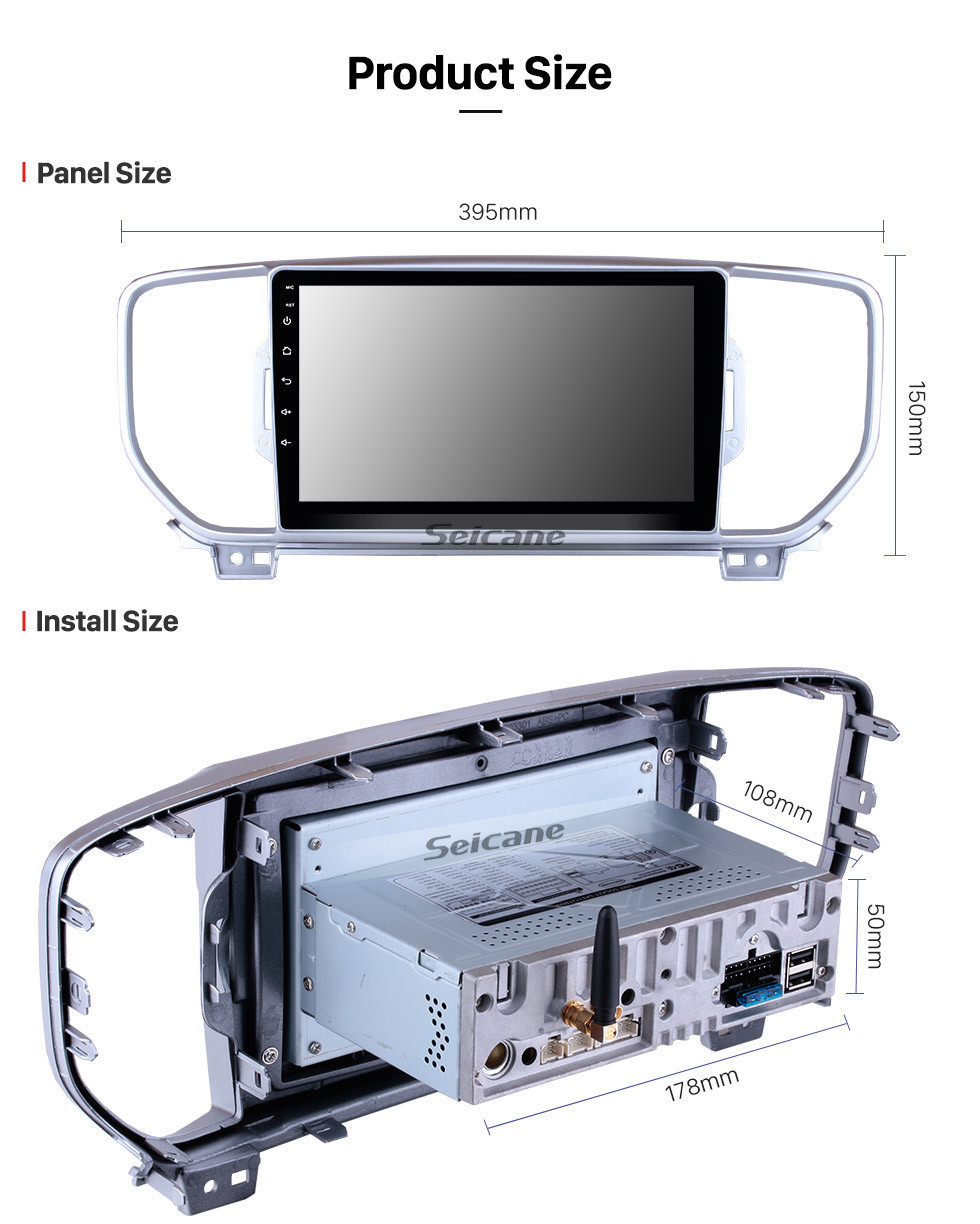 Seicane 9 Inch HD Touchscreen Android 10.0 2016-2017 Kia KX5 Car Stereo Radio Head Unit GPS Navigation Bluetooth Support Steering Wheel Control USB WIFI OBD2 Rearview Camera