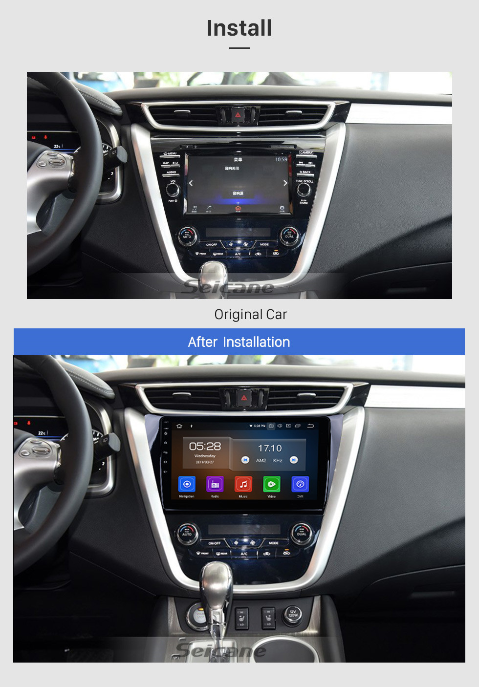 Seicane 10.1 inch HD Touchscreen Radio GPS Navigation system Android 10.0 for 2015 2016 2017 Nissan Murano Support Bluetooth 3G/4G WIFI OBD2 USB Mirror Link Steering Wheel Control