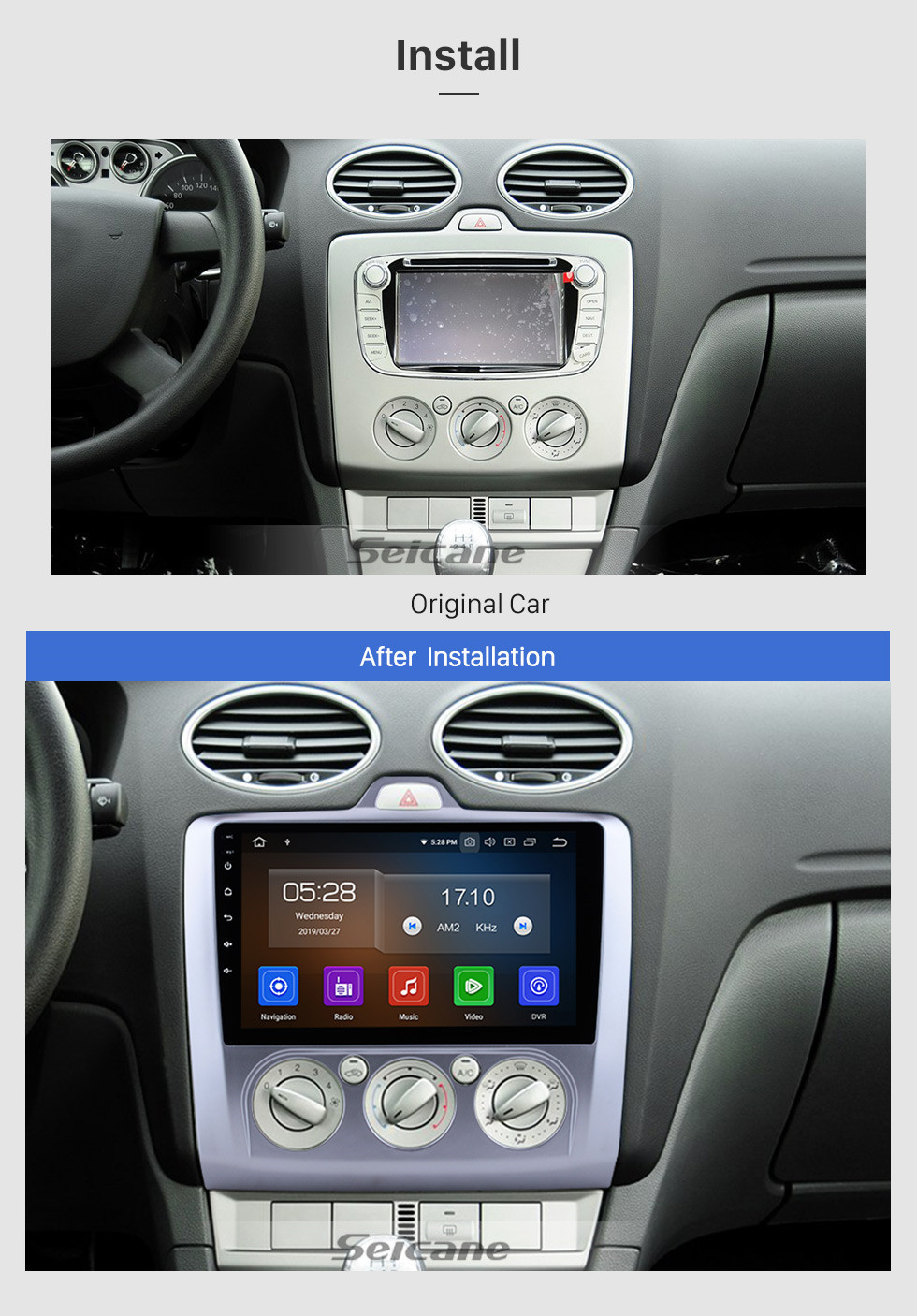 Seicane 9 Inch OEM Android 10.0 Radio 2004-2011 Ford FOCUS EXI MT 2 3 Mk2/Mk3 Manual air condition GPS Navigation system Bluetooth Touch Screen TPMS DVR OBD II Rear camera AUX 3G WiFi HD 1080P Video