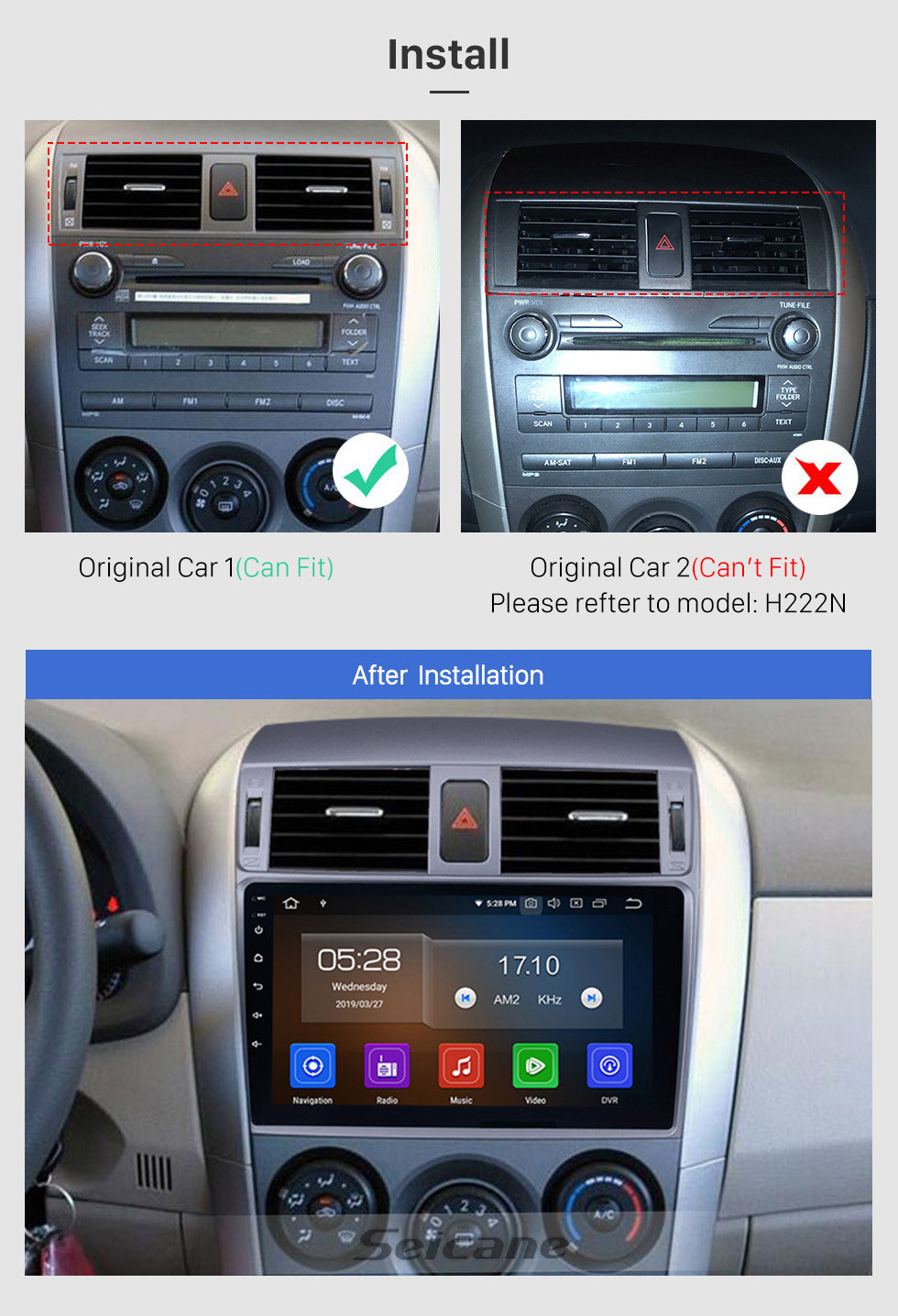 Seicane 2007-2010 Toyota Corolla 9 inch Android 10.0 Autoradio Aftermarket GPS Navigation HD Touchscreen Bluetooth Phone WIFI Mirror Link USB support Carplay DVD Player 4G DVR