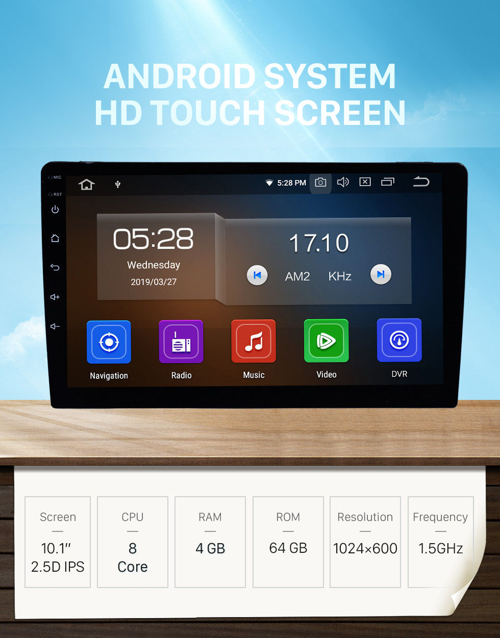 Seicane 10.1 inch Android 10.0 Universal GPS Navigation Sytem Bluetooth Phone HD Touchscreen Mirror Link 4G WIFI AUX DVR 1080P DAB TPMS Backup Camera