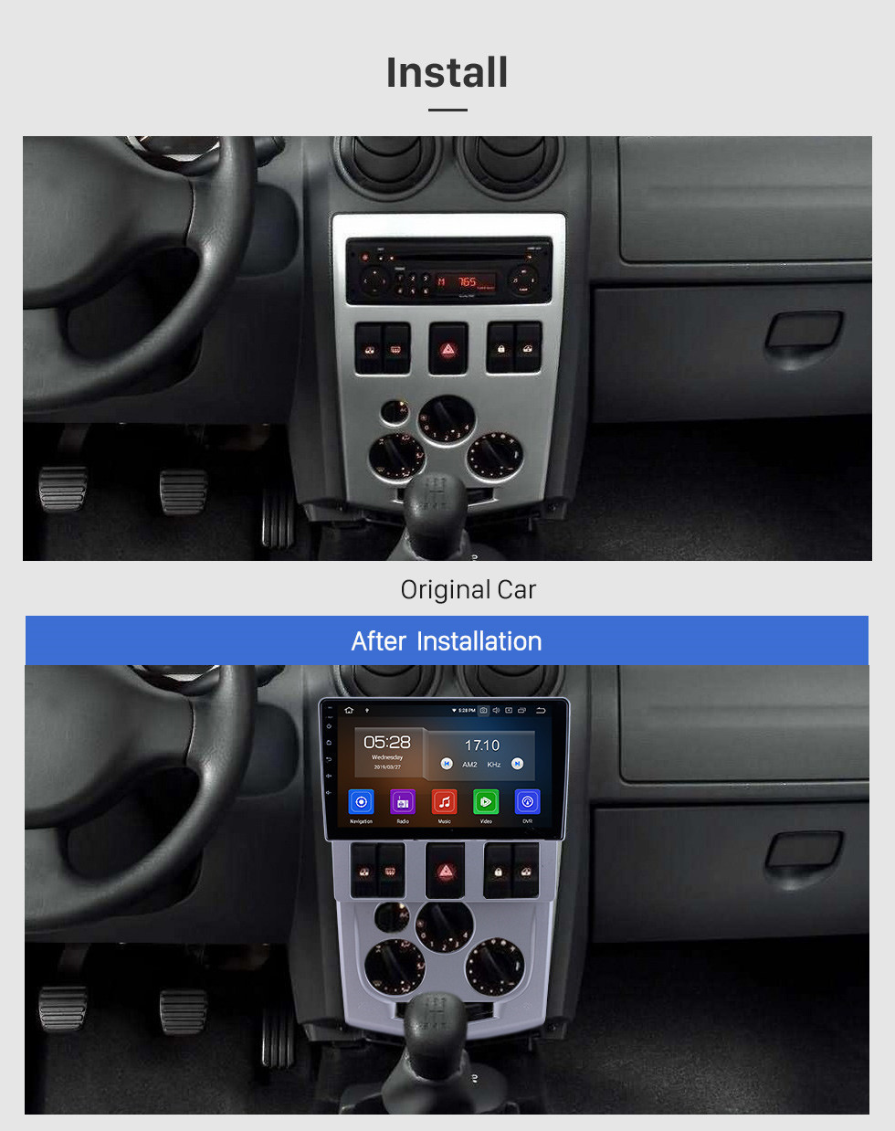 Seicane OEM 9 inch Android 10.0 for 2004 2005 2006 2007 2008 Renault LOGAN L90 Radio Bluetooth HD Touchscreen GPS Navigation Carplay support TPMS