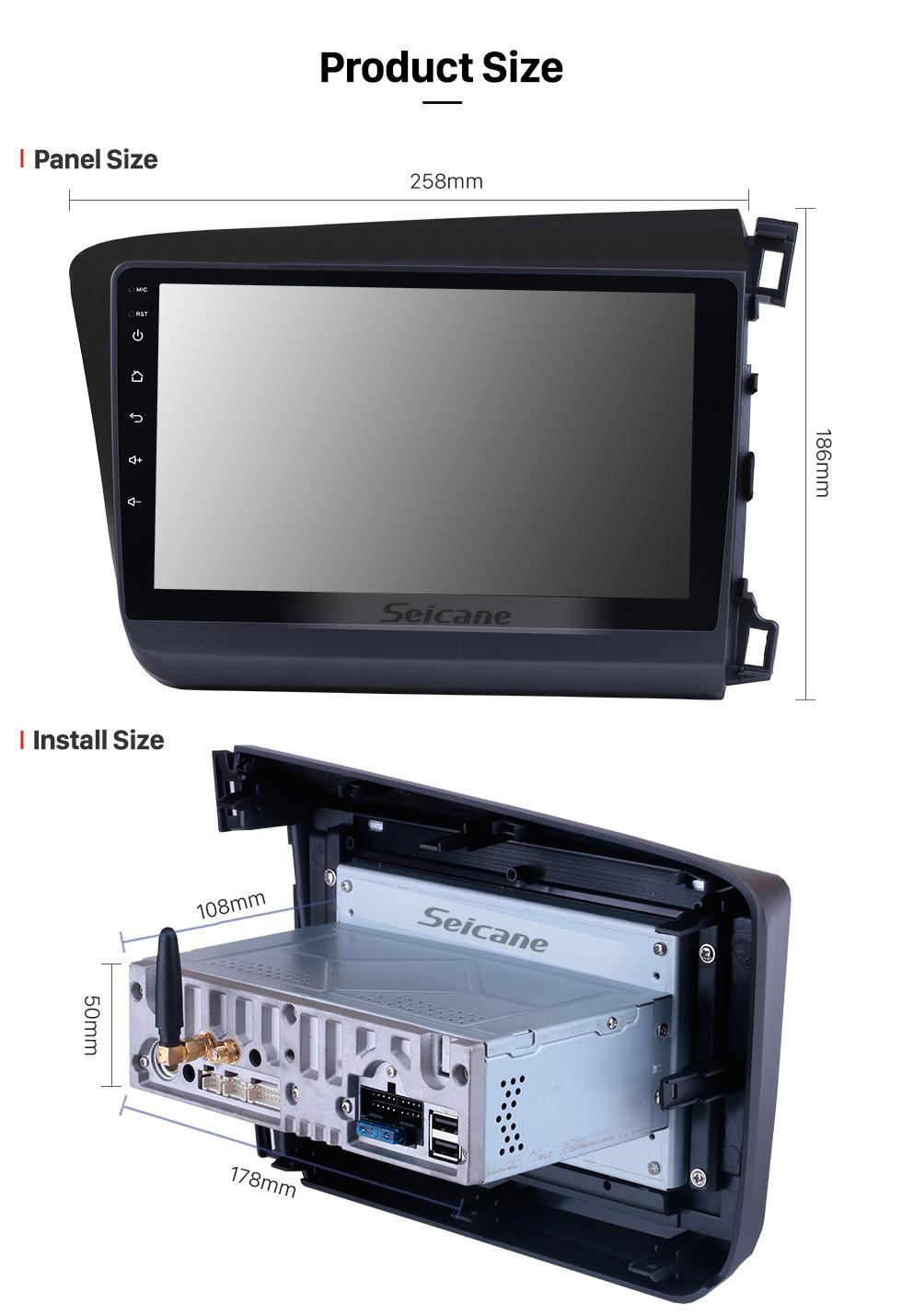 Seicane Android 10.0 HD Touchscreen 9 inch Radio GPS Navigation For 2012 Honda Civic RHD Steering Wheel Control Bluetooth Wifi FM support OBD2 DVR