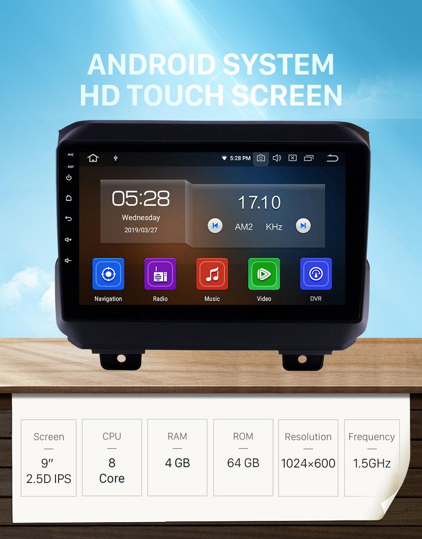 Seicane Tout en un Android 10.0 Navigation GPS 9 pouces HD Écran tactile Stéréo pour 2018 Jeep Wrangler Rubicon Bluetooth FM WIFI Contrôle USB au volant USB Support Carplay AUX DVR OBD2