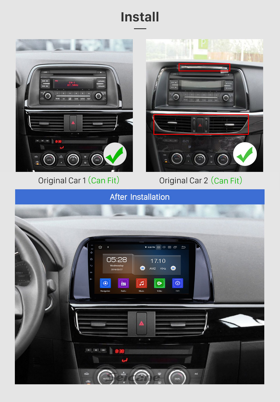 Seicane 2012-2015 Mazda CX-5 Full 1024*600 Touchscreen Android 10.0 GPS Navigation System with WIFI 4G Bluetooth Music USB OBD2 AUX Radio Backup Camera Steering Wheel Control