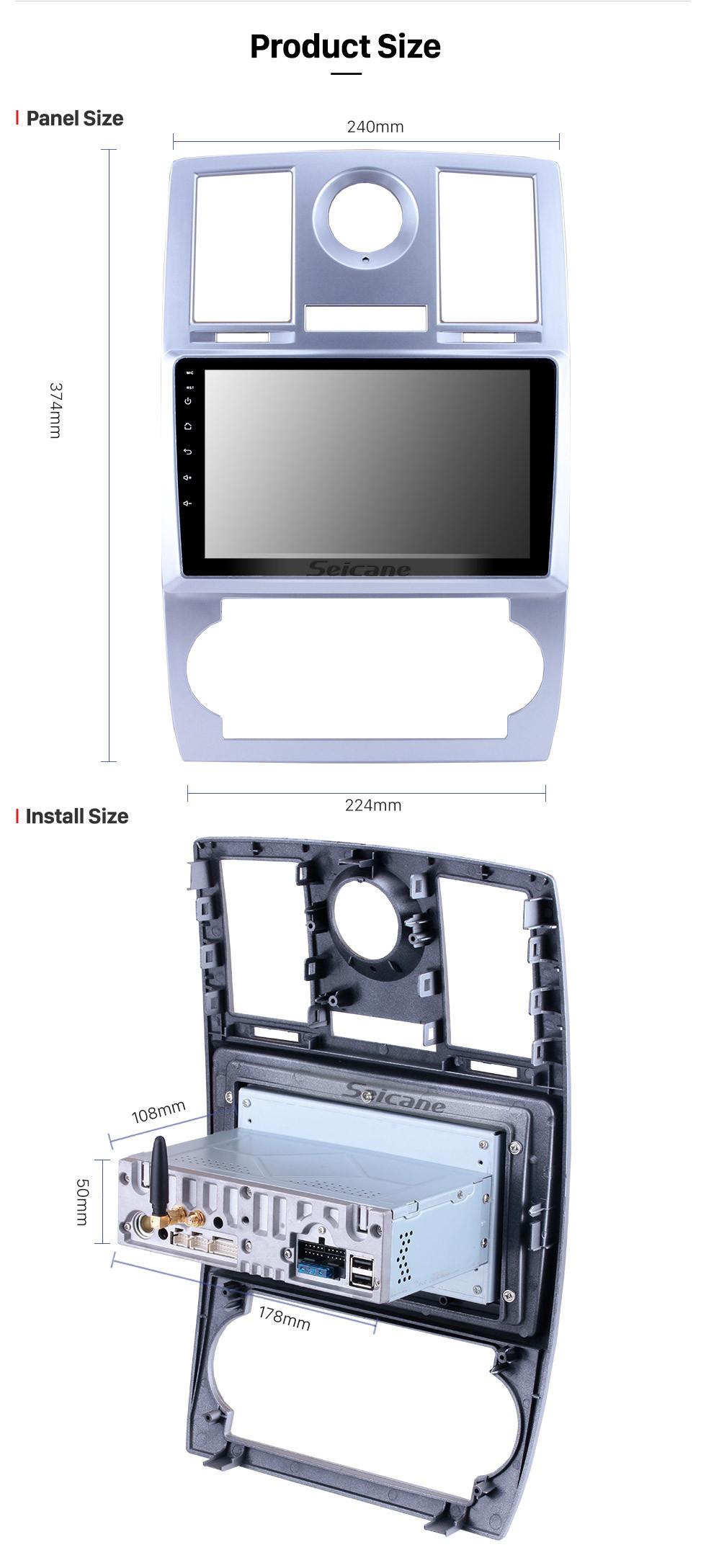Seicane Système de navigation GPS Android 9.0 de 9 pouces pour 2004 2005 2006 2007 2008 Support de Chrysler Aspen 300C Écran tactile HD 1080P 1024 * 600 OBDII Caméra de recul DVR Caméra arrière Lien TV 3G WIFI USB
