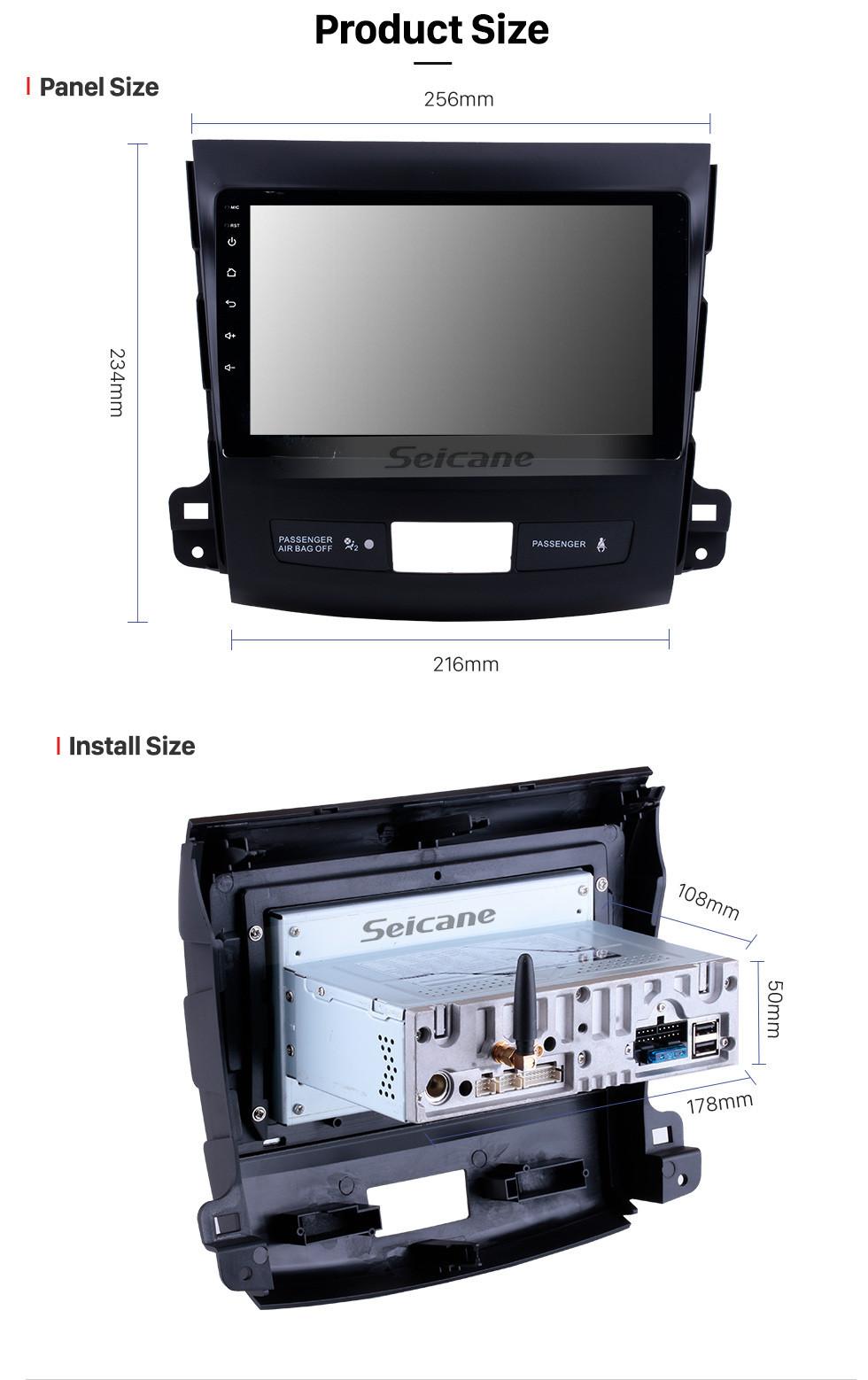 Seicane OEM 9 pouces Android 10.0 Radio Système de navigation GPS pour 2006-2014 Mitsubishi OUTLANDER Bluetooth HD 1024 * 600 écran tactile OBD2 DVR TV 1080P Vidéo 4G WIFI Contrôle du volant Caméra de recul USB Lien miroir