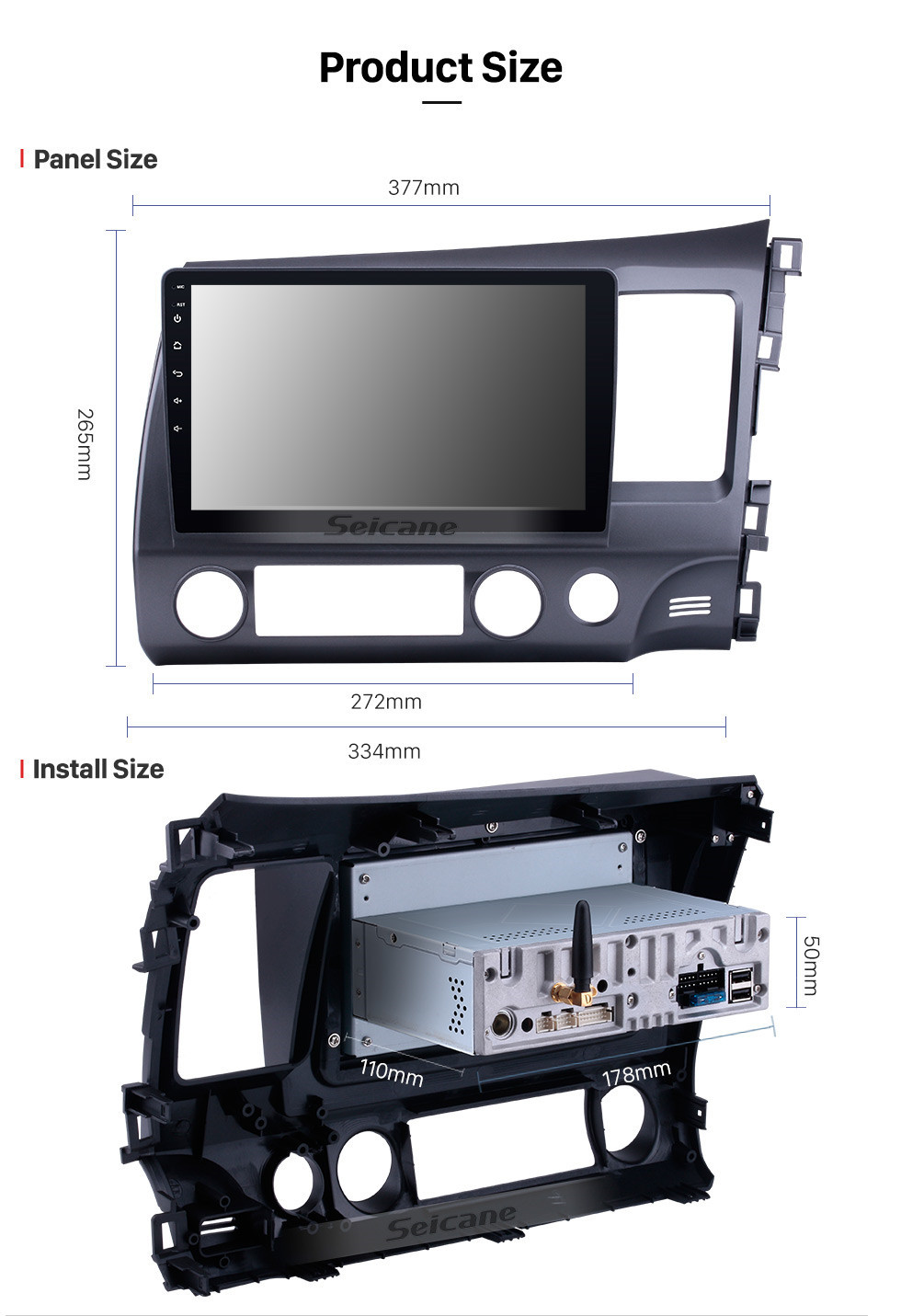 Seicane OEM Android 10.0 2006-2011 Honda CIVIC RHD Radio Upgrade with Autoradio Bluetooth GPS System 1024*600 Multi-touch Capacitive Screen CD DVD Player 3G WiFi Mirror Link OBD2 Auto AV in/out USB SD MP3 MP4 AUX DVR Reverse Camera