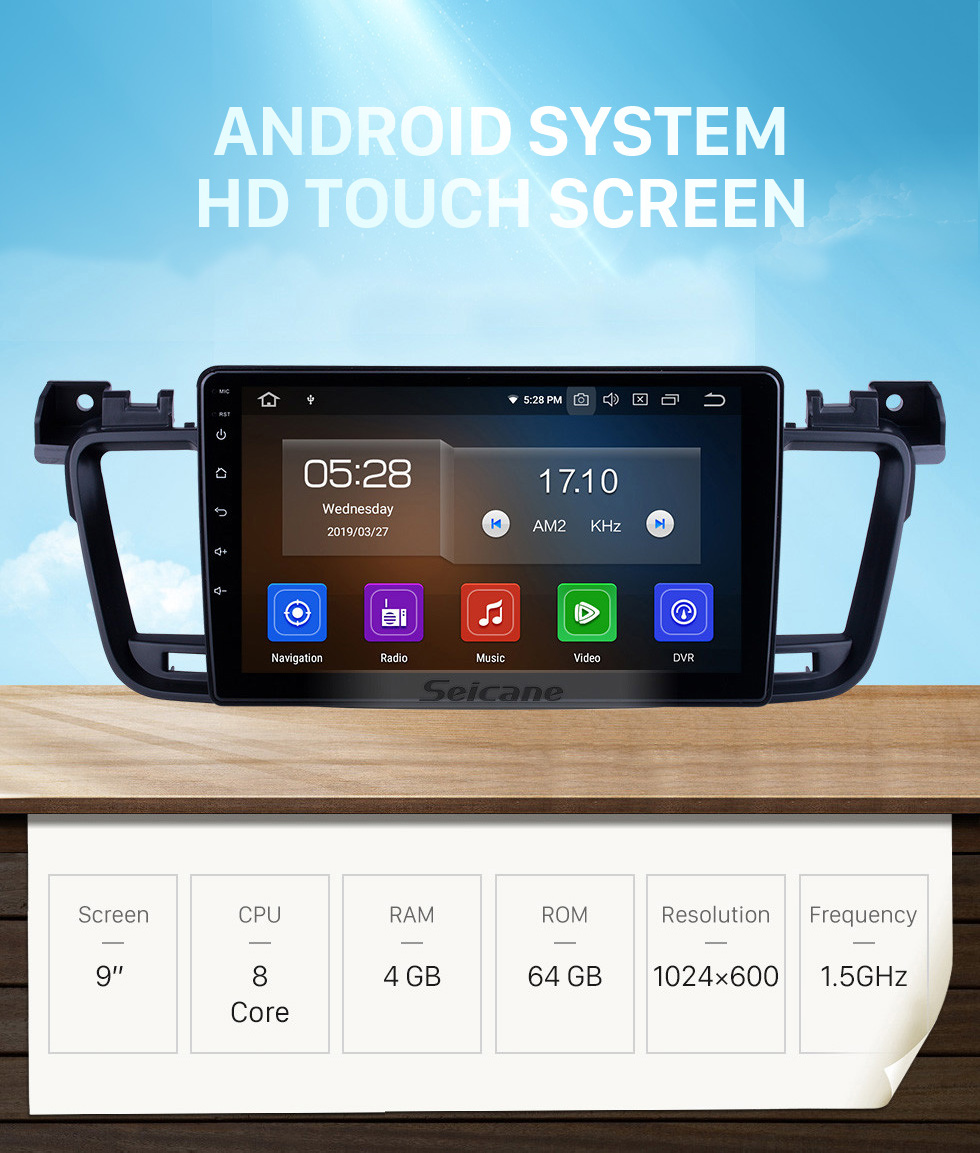 Seicane OEM 9 inch Android 10.0 for 2011 2012 2013-2017 Peugeot 508 Radio with Bluetooth HD Touchscreen GPS Navigation System Carplay support DSP