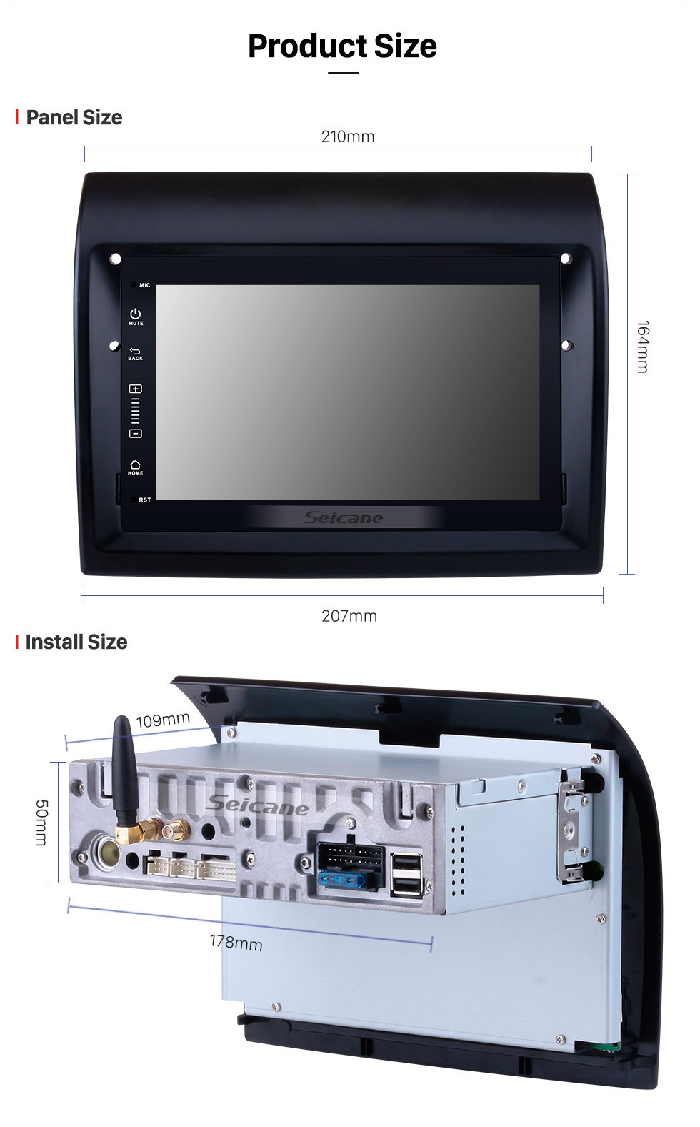 Seicane 2007-2016 Fiat Ducato/Peugeot Boxer Aftermarket 7 inch Android 10.0 Radio DVD Multimedia Player GPS Navigation System Upgrate Headunit with Bluetooth Music 3G Wifi Mirror Link Steering Wheel Control Backup Camera DVR OBD2 DAB+