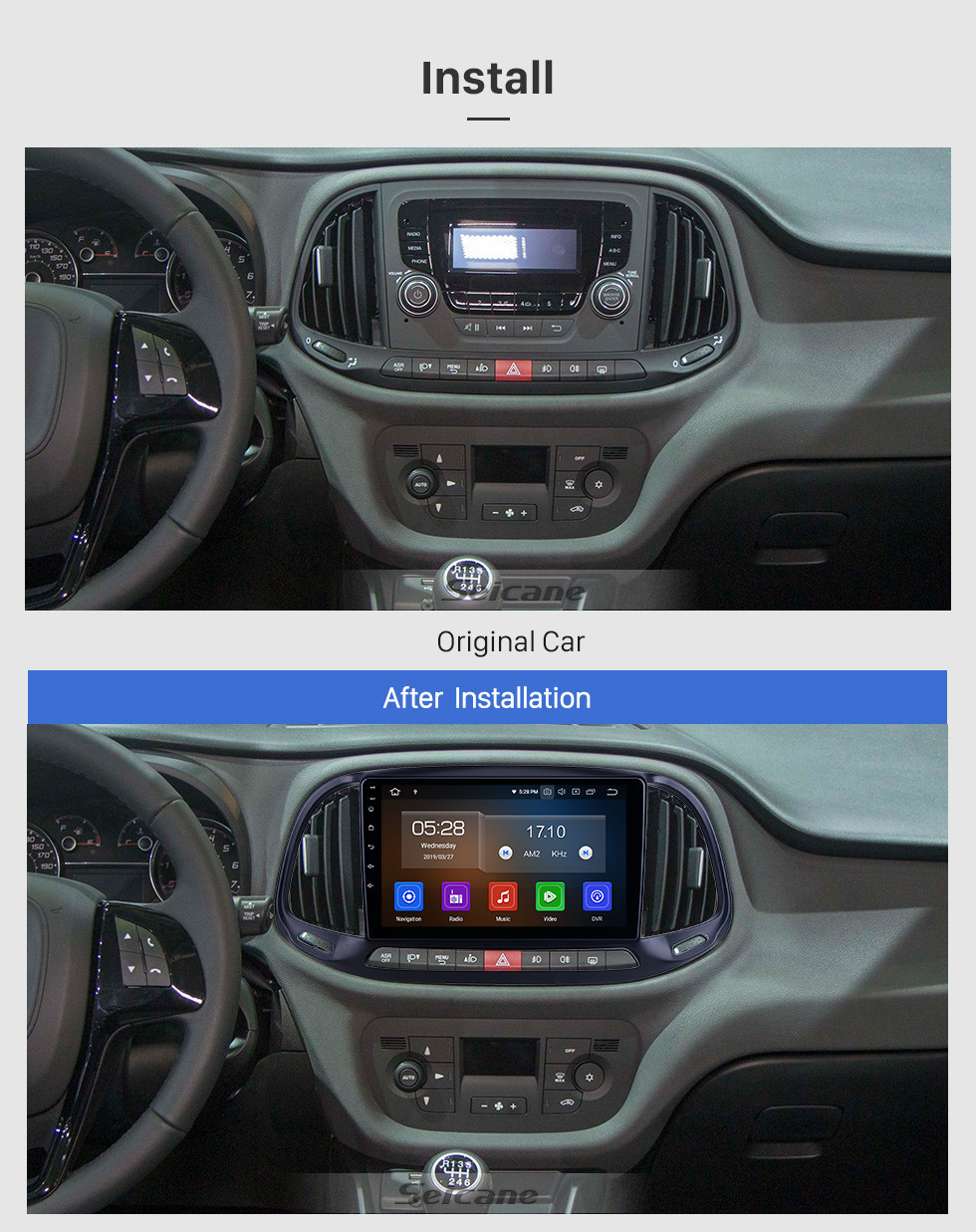 Seicane HD Touchscreen 9 inch for 2015 2016 2017 2018 2019 Fiat Doblo Radio Android 10.0 GPS Navigation System Bluetooth WIFI Carplay support DSP