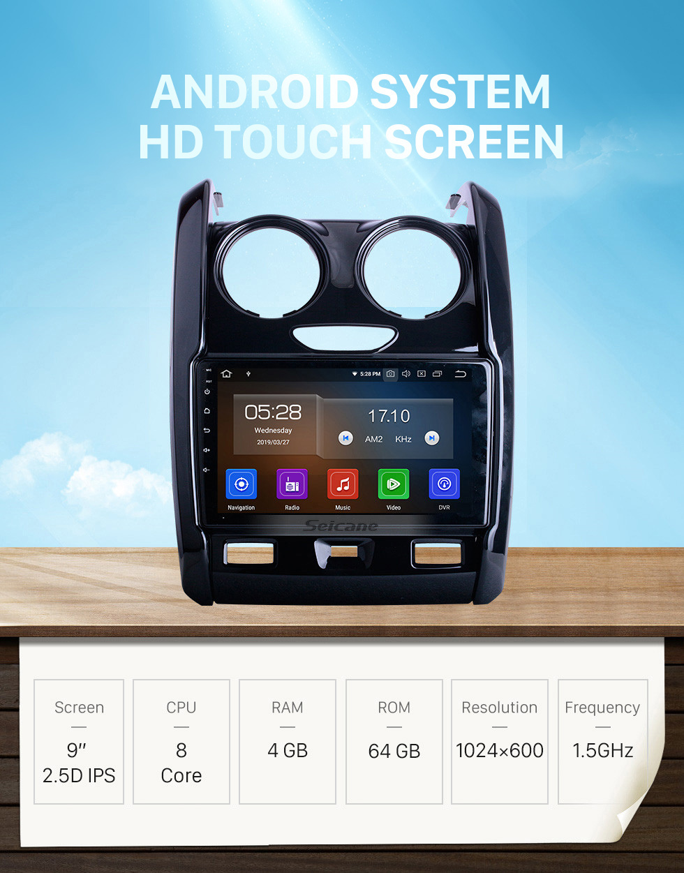 Seicane For 2015 2016 2017-2020 Renault Duster Radio 9 inch Android 10.0 HD Touchscreen Bluetooth with GPS Navigation System Carplay support 1080P