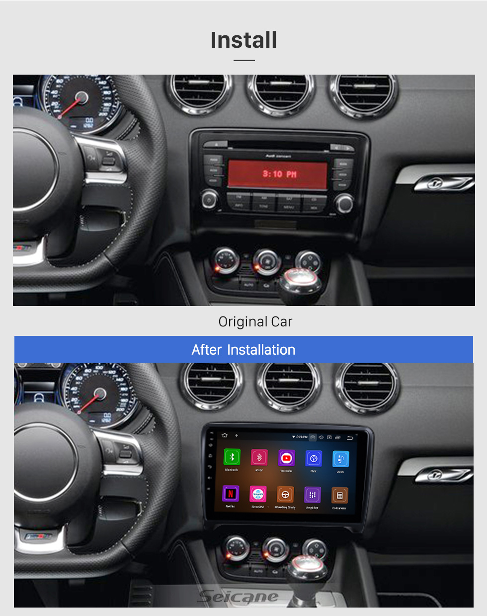 Seicane 9 inch For 2006 2007 2008-2013 Audi TT Radio Android 10.0 GPS Navigation System with Bluetooth HD Touchscreen Carplay support Digital TV