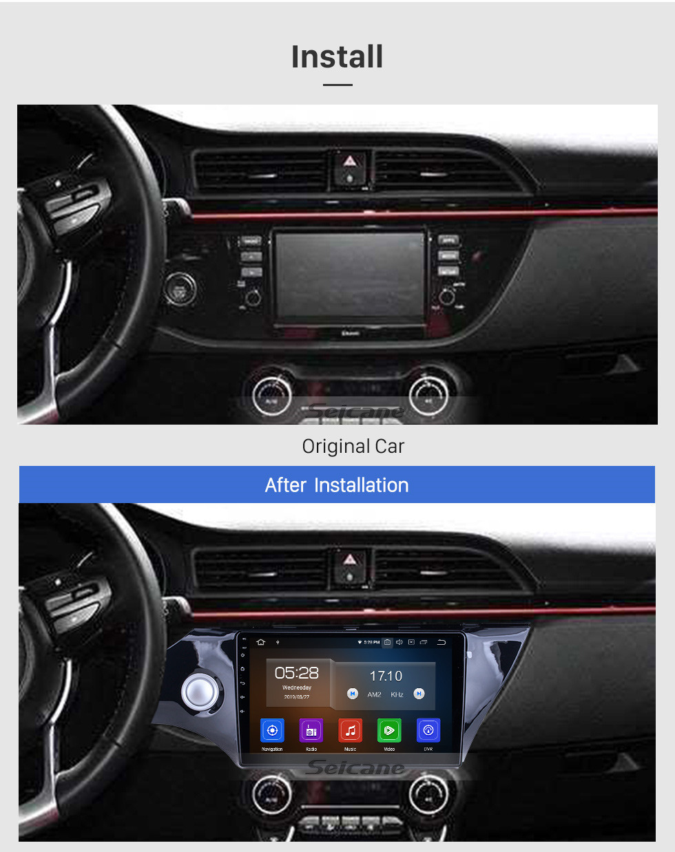 Seicane OEM 10.1 inch Android 10.0 for 2017 2018 Kia K2 Radio Bluetooth HD Touchscreen GPS Navigation System Carplay support Digital TV