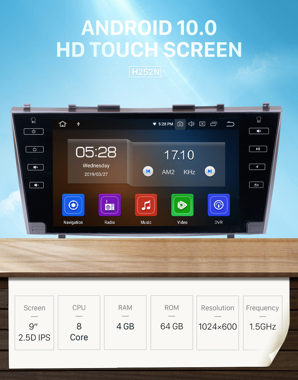 Seicane for 2007 2008 2009 2010 2011Toyota Camry 9 inch Android 10.0 Radio HD Touchscreen Car Stereo Head Unit GPS Navigation Bluetooth WIFI Support Backup Camera Steering Wheel Control USB DVR TPMS