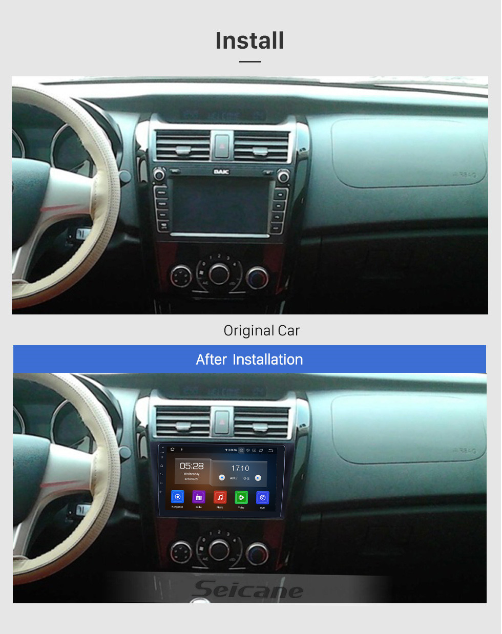 Seicane Android 10.0 For 2014 Baic Huansu Radio 9 inch GPS Navigation System Bluetooth HD Touchscreen Carplay support Rear camera