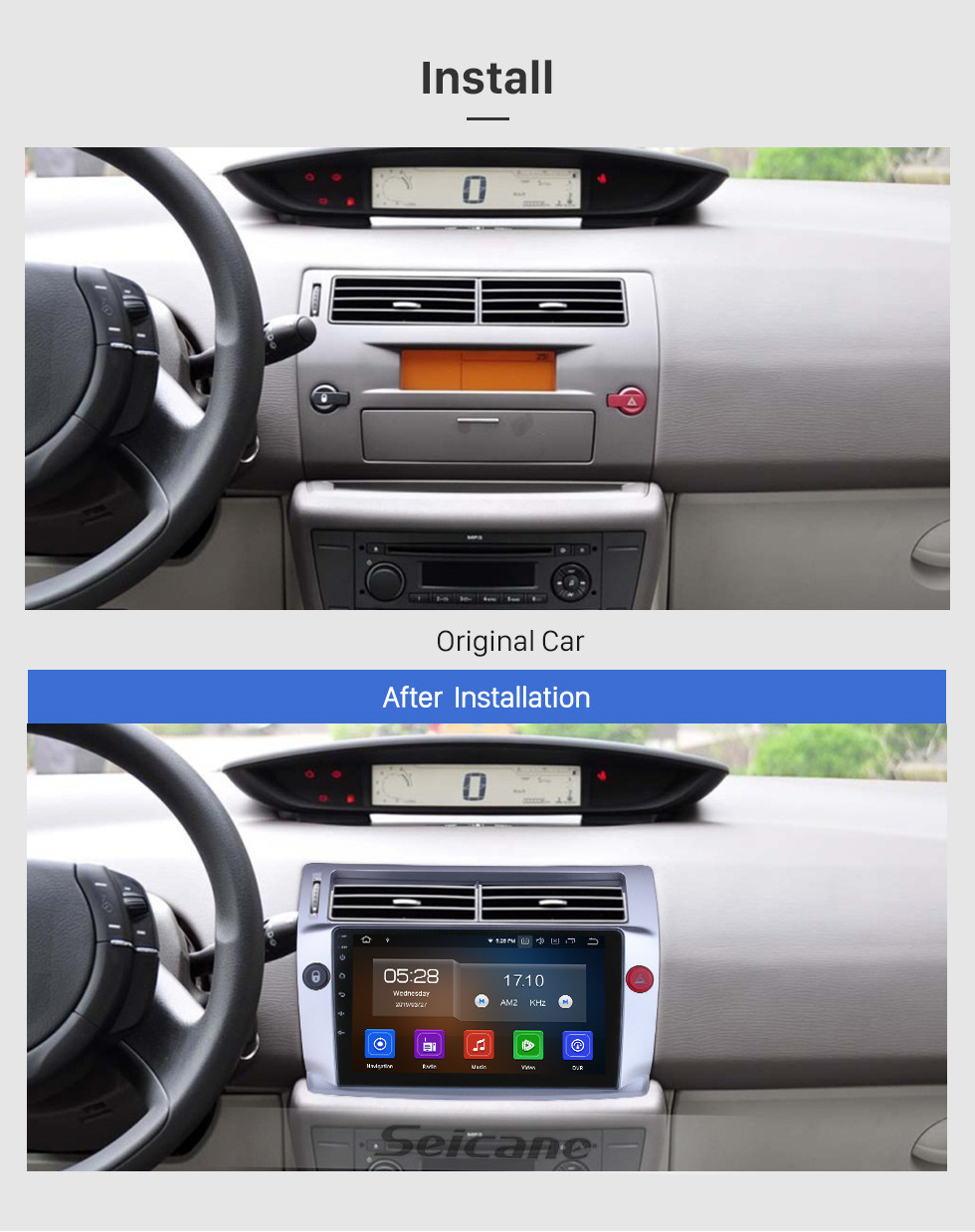 Seicane HD Touchscreen for 2009 Citroen Old C-Quatre Radio Android 10.0 9 inch GPS Navigation System Bluetooth Carplay support DAB+ DVR