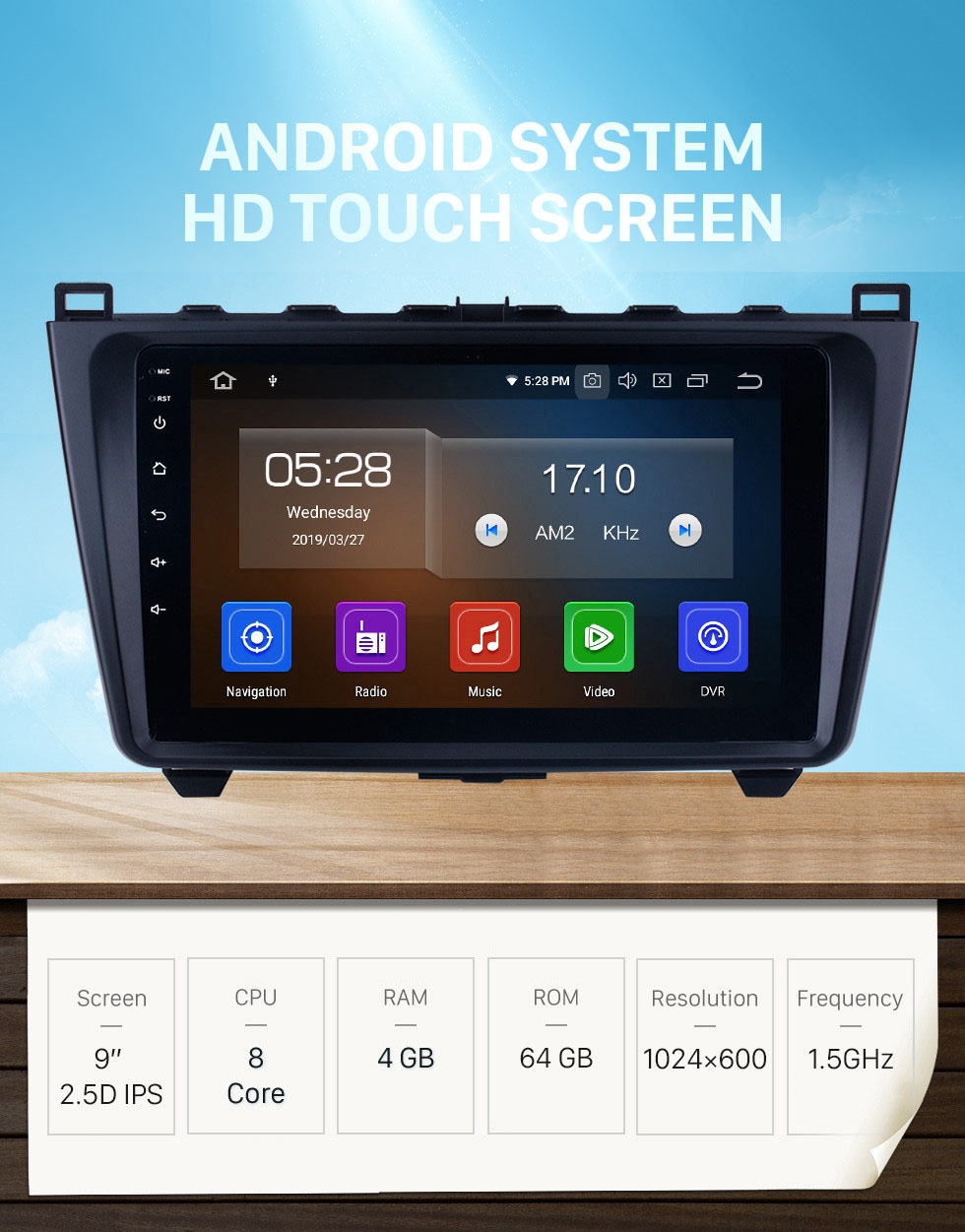 Seicane 9 inch Android 10.0 Radio GPS Navigation System Auto Stereo for 2008-2015 Mazda 6 Ruiyi with full 1024*600 Touchscreen Bluetooth Mirror link 3G WIFI support TPMS OBD2 DVR Rearview camera Steering Wheel Control