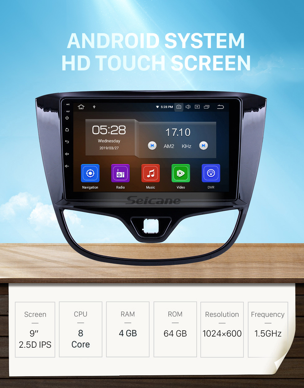 Seicane HD Touchscreen for 2017 Opel Karl/Vinfast Radio Android 10.0 9 inch GPS Navigation System Bluetooth Carplay support DAB+ DVR