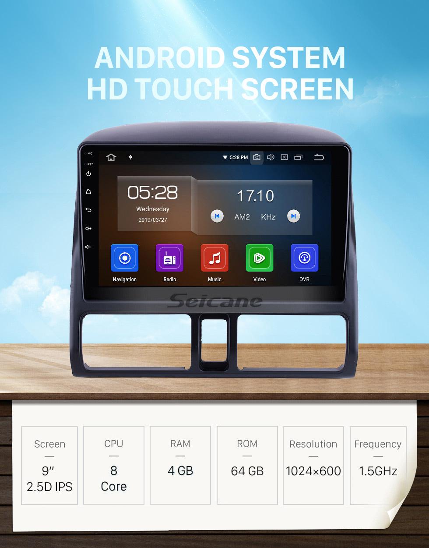 Seicane OEM 9 inch Android 10.0 for 2002 Honda CRV Radio Bluetooth HD Touchscreen GPS Navigation System Carplay support DVR Backup camera
