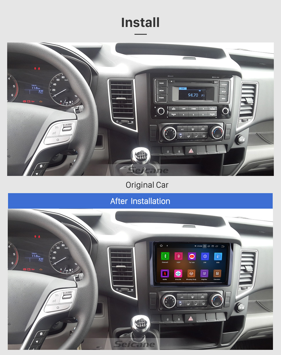 Seicane Android 10.0 For 2016 Hyundai H350 Radio 9 inch GPS Navigation System Bluetooth AUX WIFI HD Touchscreen Carplay support TPMS SWC