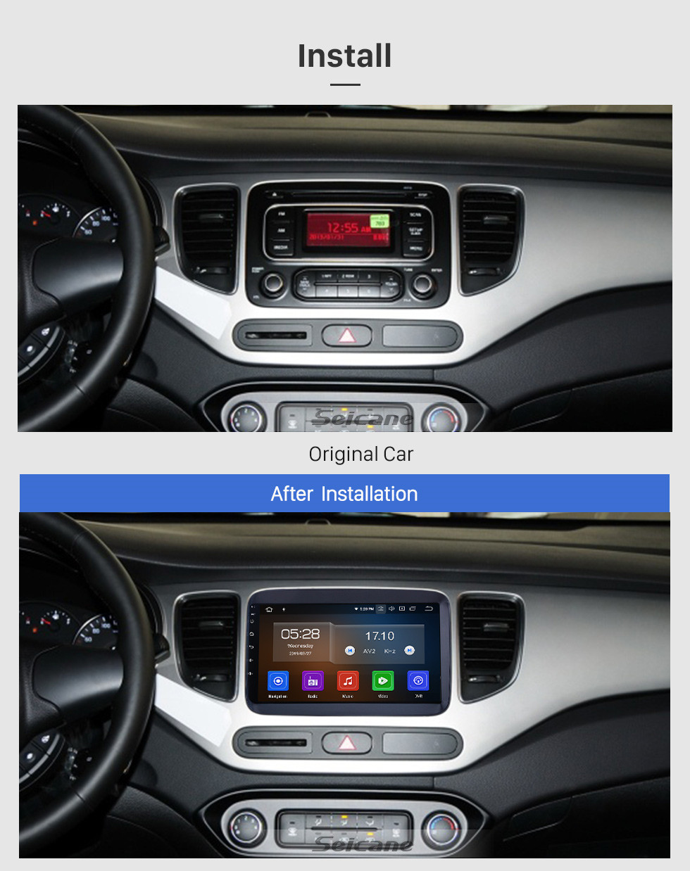 Seicane OEM 9 inch Android 10.0 for 2014 2015 2016 2017 Kia Carens Radio Bluetooth HD Touchscreen GPS Navigation System Carplay support DVR