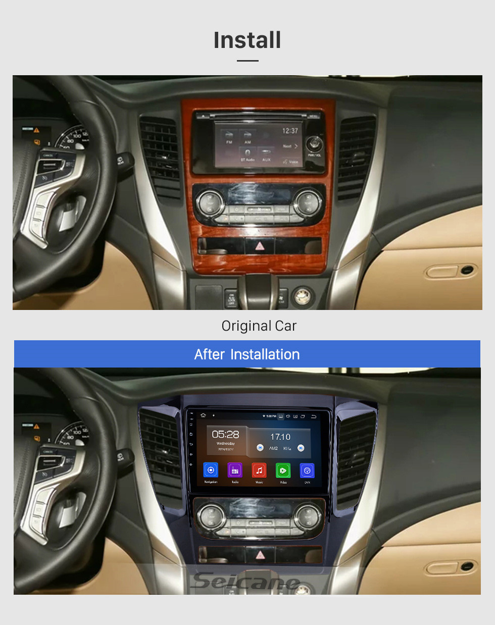 Seicane Android 10.0 For 2015 2016 2017 Mitsubishi Pajero Sport Radio 9 inch GPS Navigation System Bluetooth HD Touchscreen Carplay support SWC