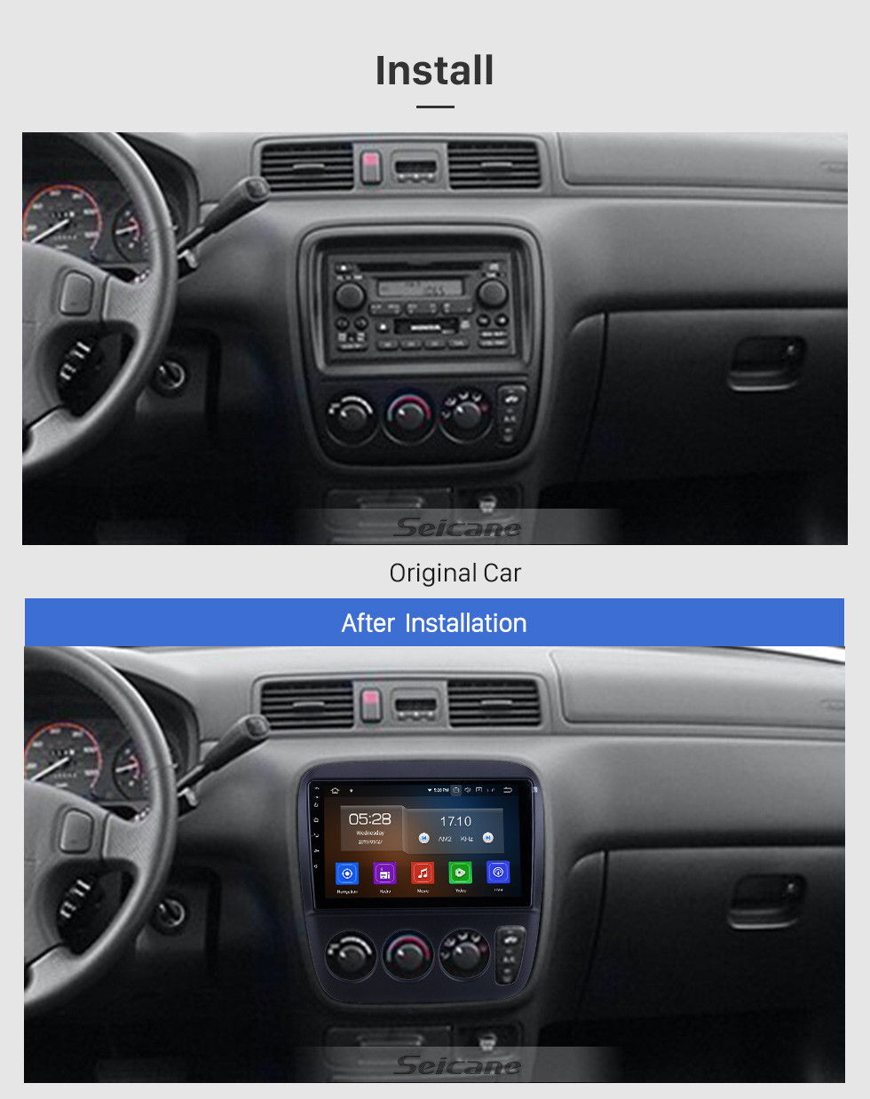 Seicane For 1998 1999 2000 Honda CR-V Performa RHD Radio 9 inch Android 10.0 HD Touchscreen Bluetooth with GPS Navigation System Carplay support 1080P