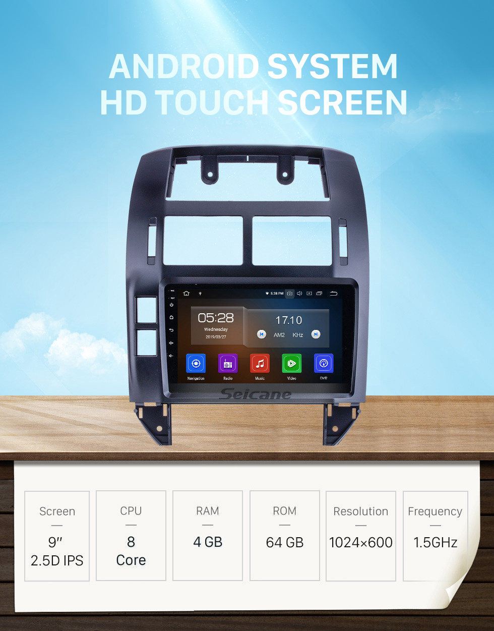Seicane 9 inch For 2004 2005 2006-2011 VW Volkswagen Polo Radio Android 10.0 GPS Navigation System Bluetooth HD Touchscreen Carplay support OBD2