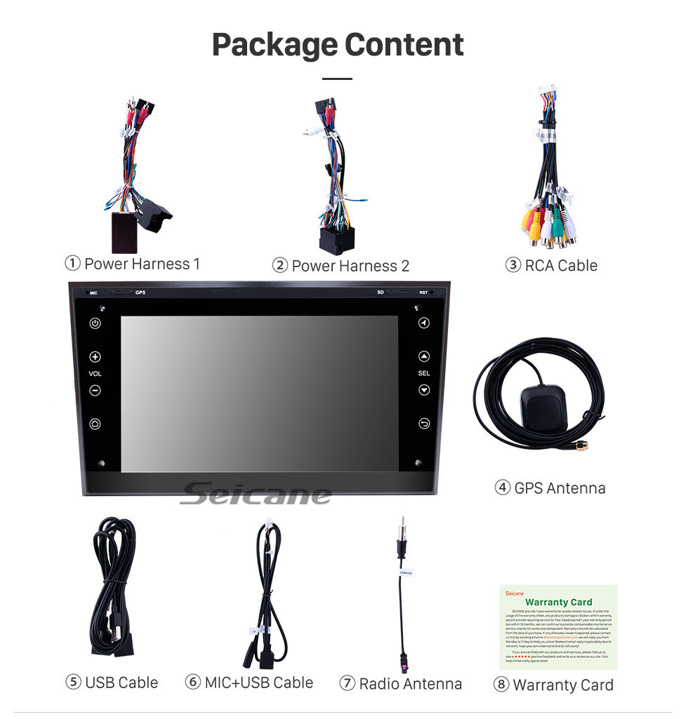 Seicane In dash Radio GPS Navigation Stereo Upgrade for 2006 2007 2008-2011 Opel Corsa Android 10.0 Bluetooth WIFI USB  RDS Audio system Support OBD2 1080P DVR Auto A/V