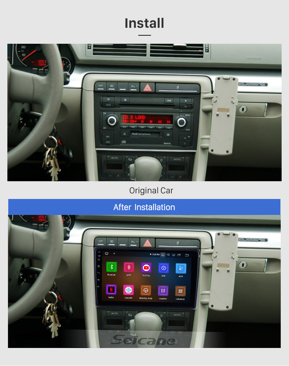 Seicane HD Touchscreen for 2002 2003 2004-2008 Audi A4 Radio Android 10.0 9 inch GPS Navigation Bluetooth WIFI Carplay support DVR DAB+