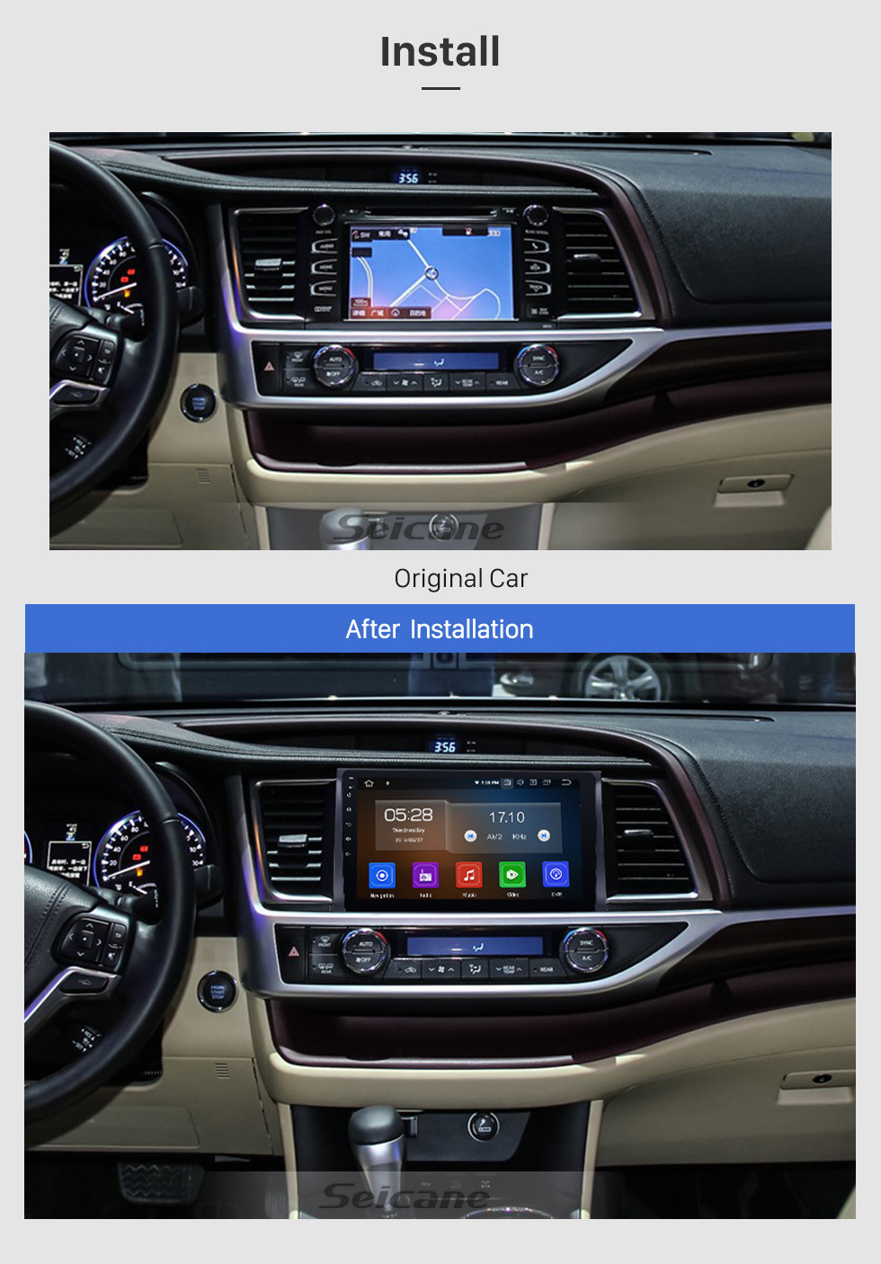 Seicane 10.1 Inch 2015 Toyota Highlander Android 10.0 HD Touch Screen Radio GPS Navigation system with Bluetooth TPMS DVR OBD II Rear camera AUX USB 3G WiFi Steering Wheel Control Video