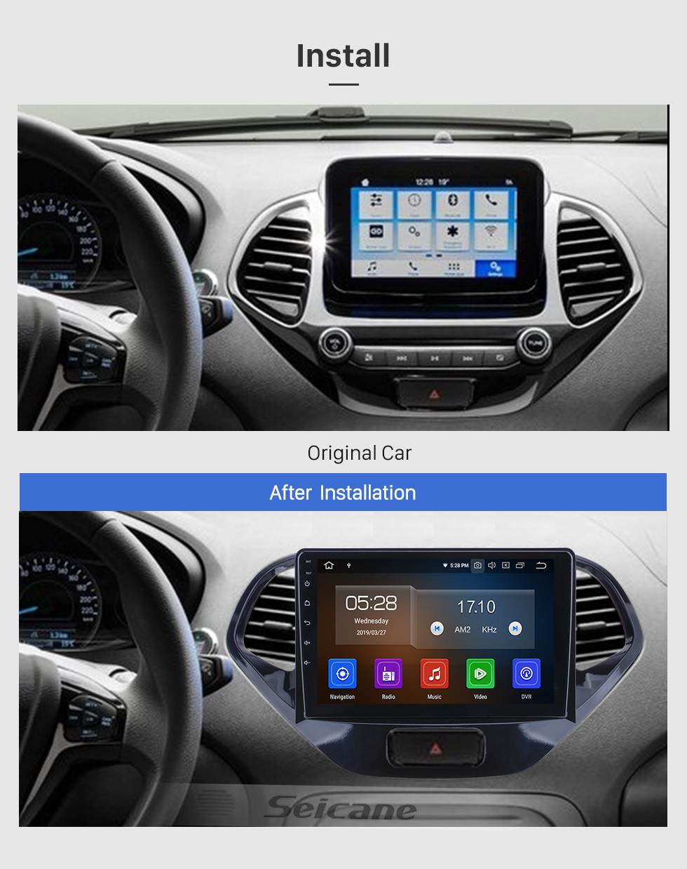 Seicane HD Touchscreen 2015 2016 2017 2018 Ford Figo Radio Android 10.0 9 inch GPS Navigation Bluetooth AUX Carplay support Backup camera