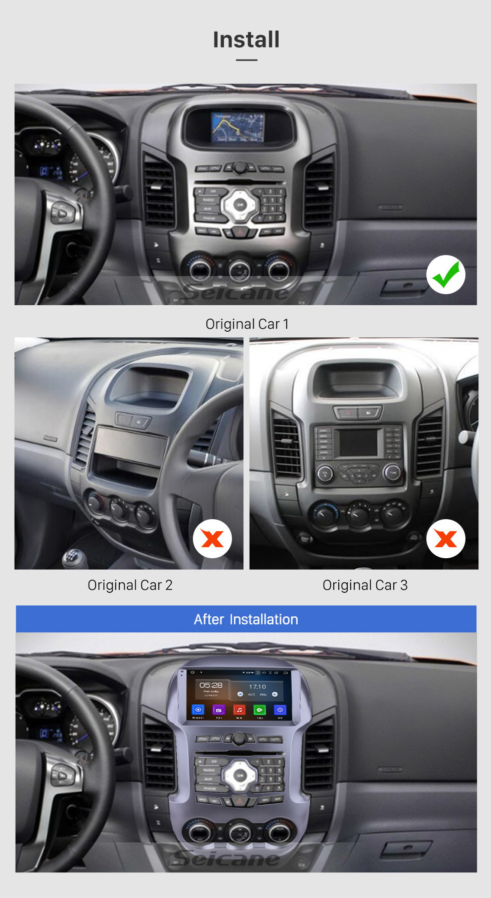 Seicane HD Touchscreen for 2011-2016 Ford Ranger Radio Android 10.0 9 inch GPS Navigation Bluetooth WIFI Carplay support Rear camera