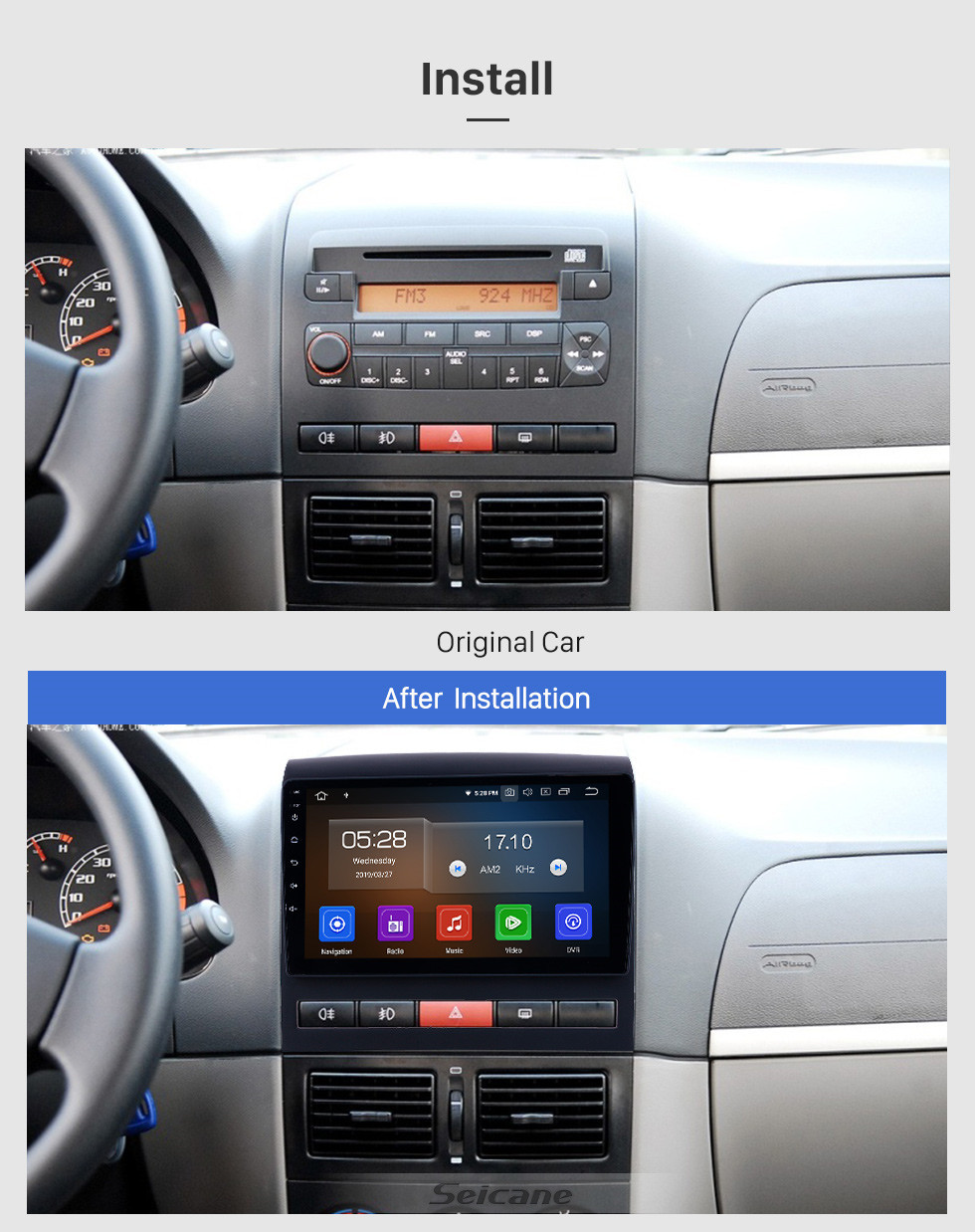 Seicane 2009 Fiat Perla Android 10.0 9 inch GPS Navigation Radio Bluetooth HD Touchscreen USB Carplay support DVR DAB+ OBD2 SWC