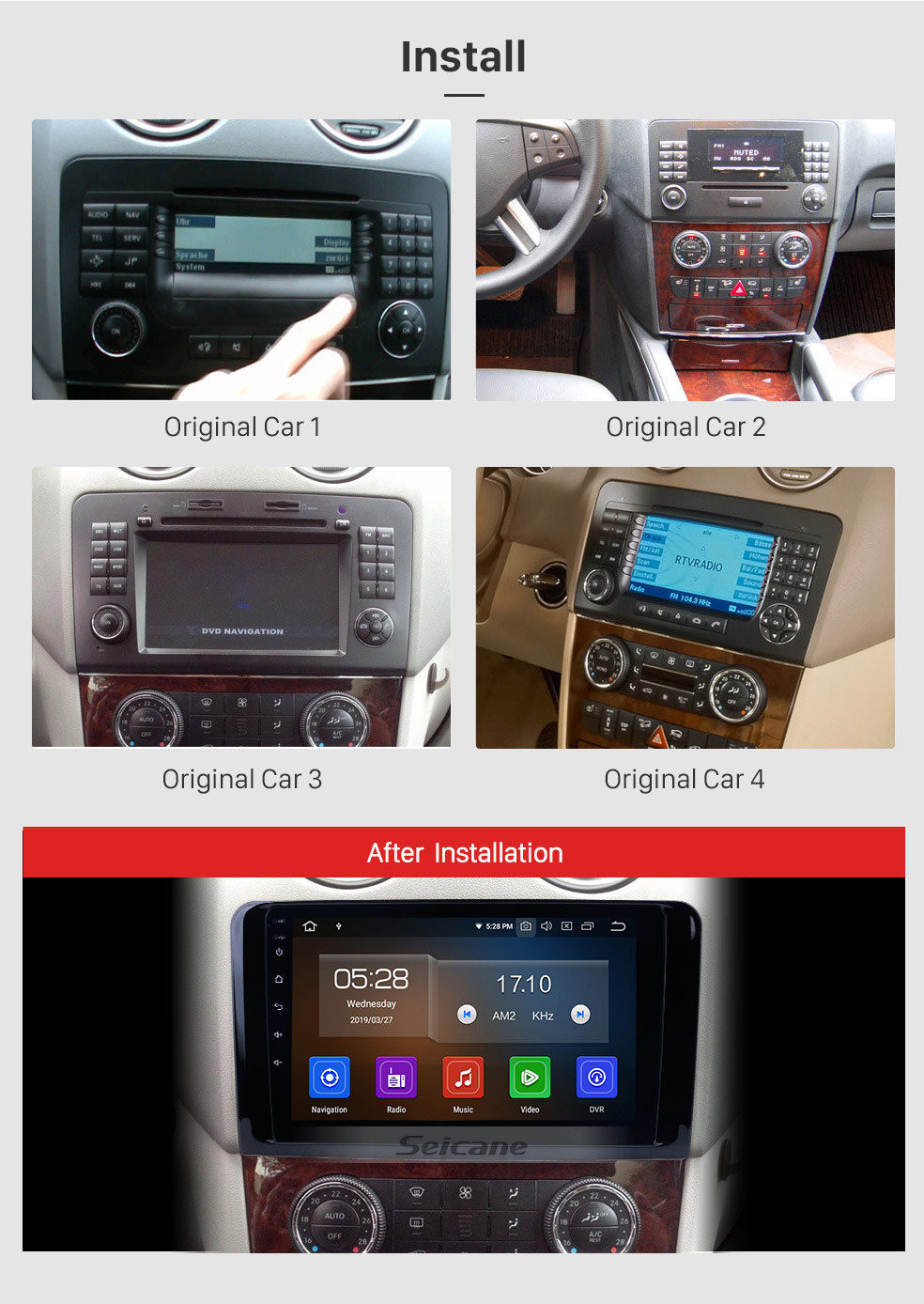 Seicane 2005-2012 Mercedes Benz GL CLASS X164   GL320 GL350 GL420 GL450G L500 Radio Removal with Android 10.0 GPS Navigation Stereo 1024*600 Multi-touch Capacitive Screen DVD Mirror Link OBD2 Bluetooth 4G WiFi