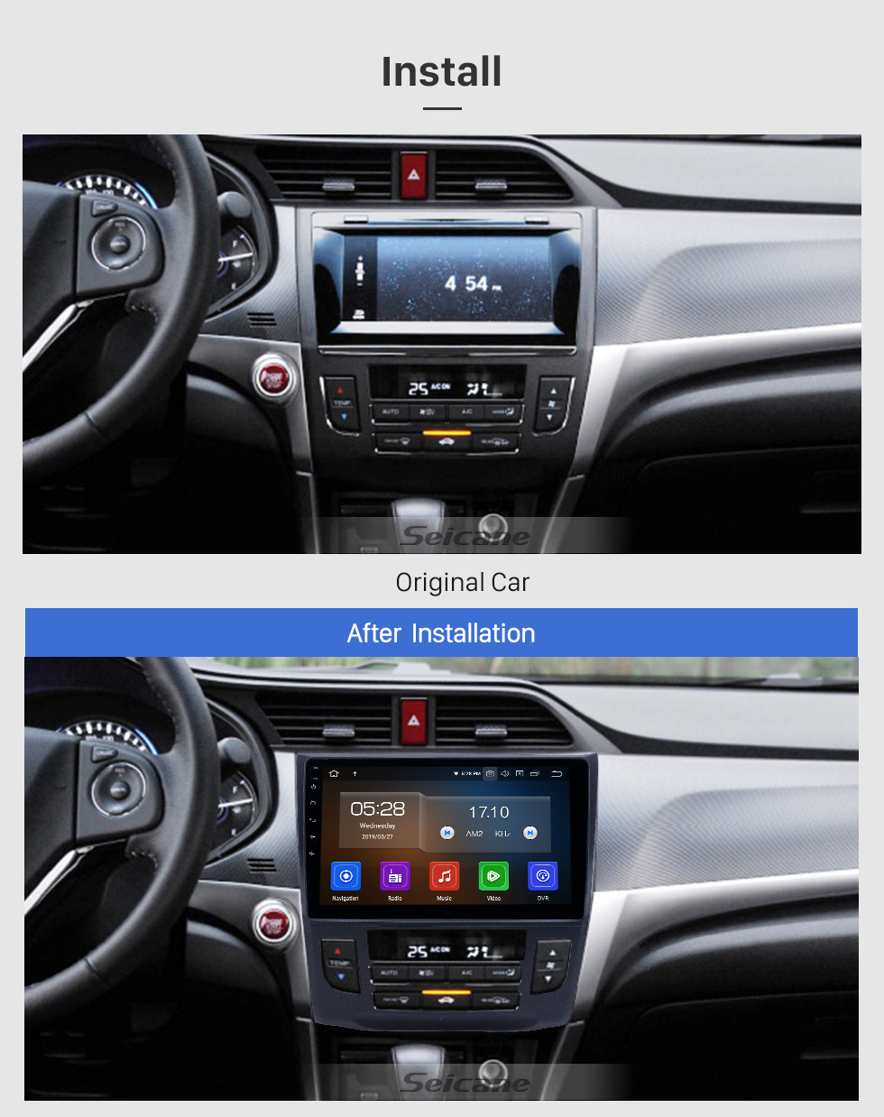 Seicane 10.1 inch Android 10.0 GPS Navigation Radio for 2013-2019 Honda Crider Auto A/C with HD Touchscreen Carplay Bluetooth support OBD2