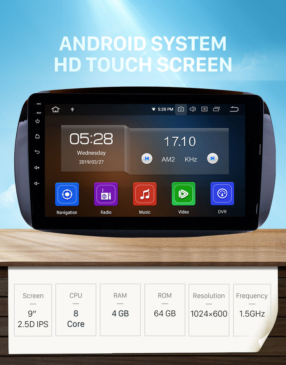 Seicane 9 Inch Android 10.0 HD 1024*600 Touchscreen Radio For 2015 2016 Mercedes Benz SMART Car Stereo GPS Navigation System Bluetooth Support Mirror Link OBD2 AUX 3G WiFi DVR 1080P Video Steering Wheel Control